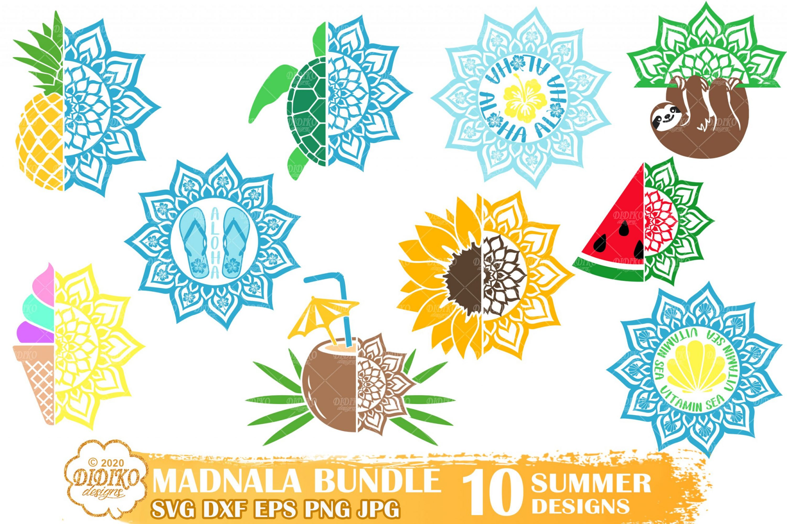 Summer Mandala SVG Bundle, Beach Mandala Bundle