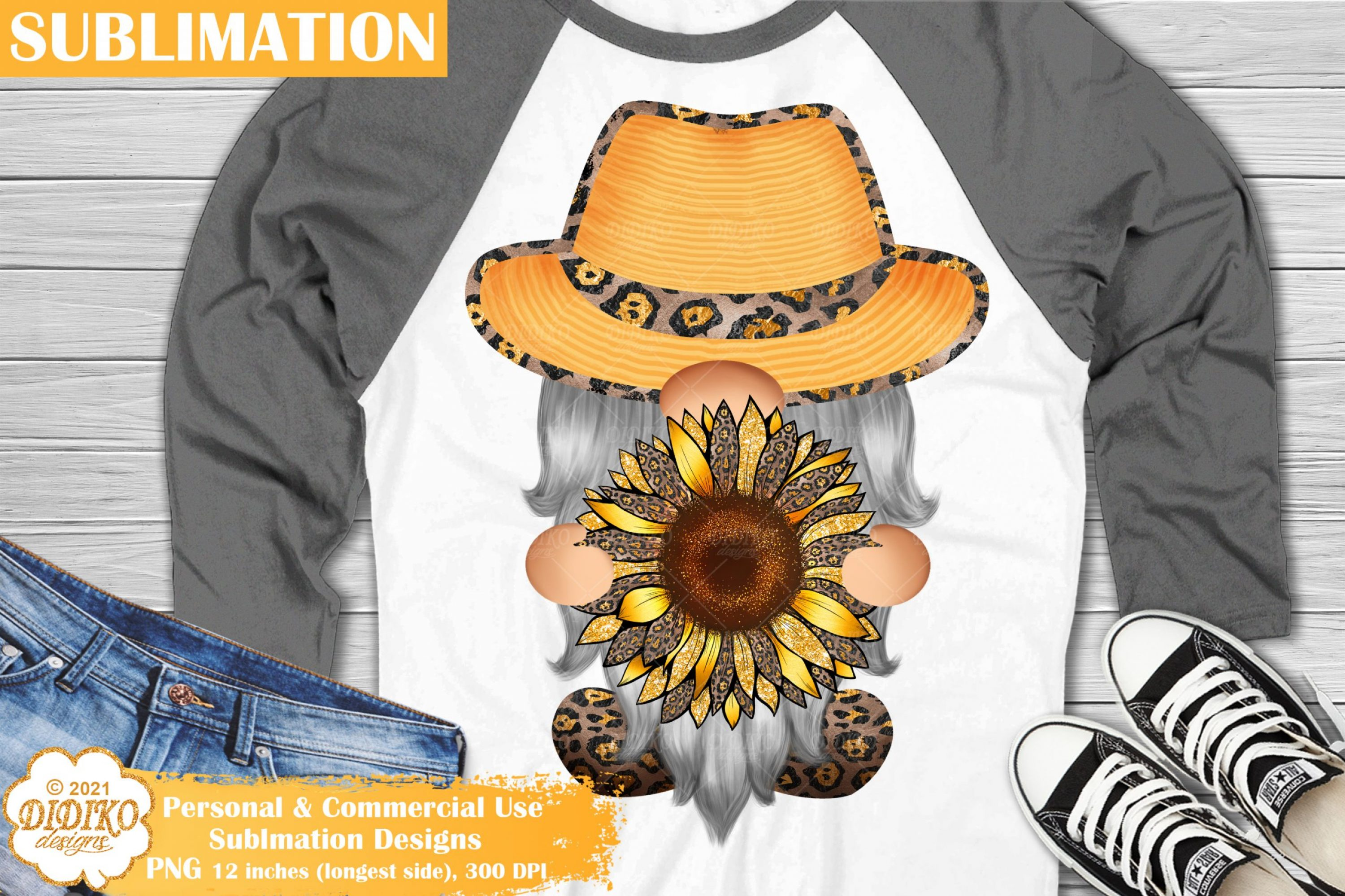 Gnome Sunflower Sublimation, Gnome leopard print png