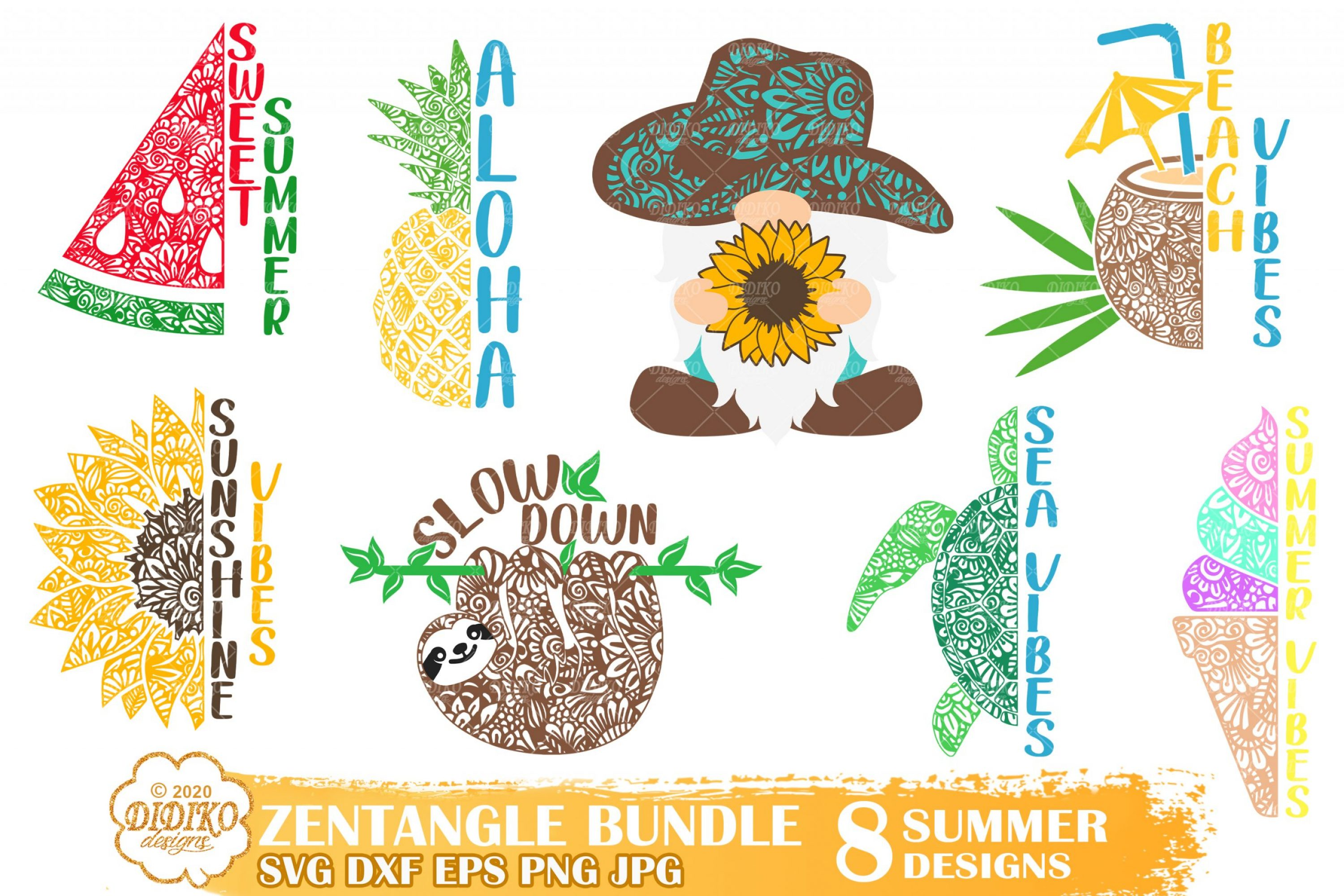 Summer Zentangle SVG Bundle, Zentangle Bundle Svg
