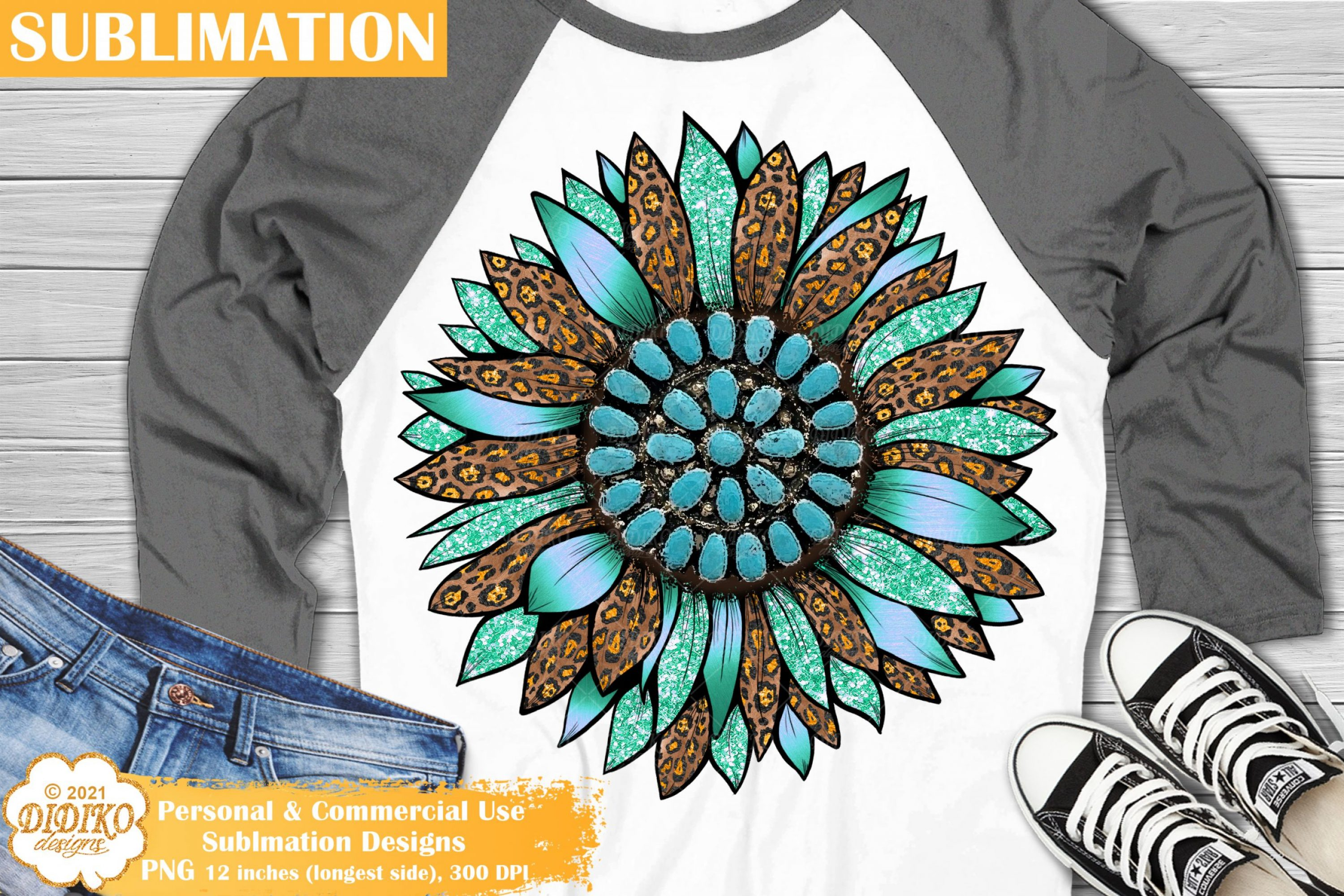 Sunflower Western Sublimation, Leopard Print Png
