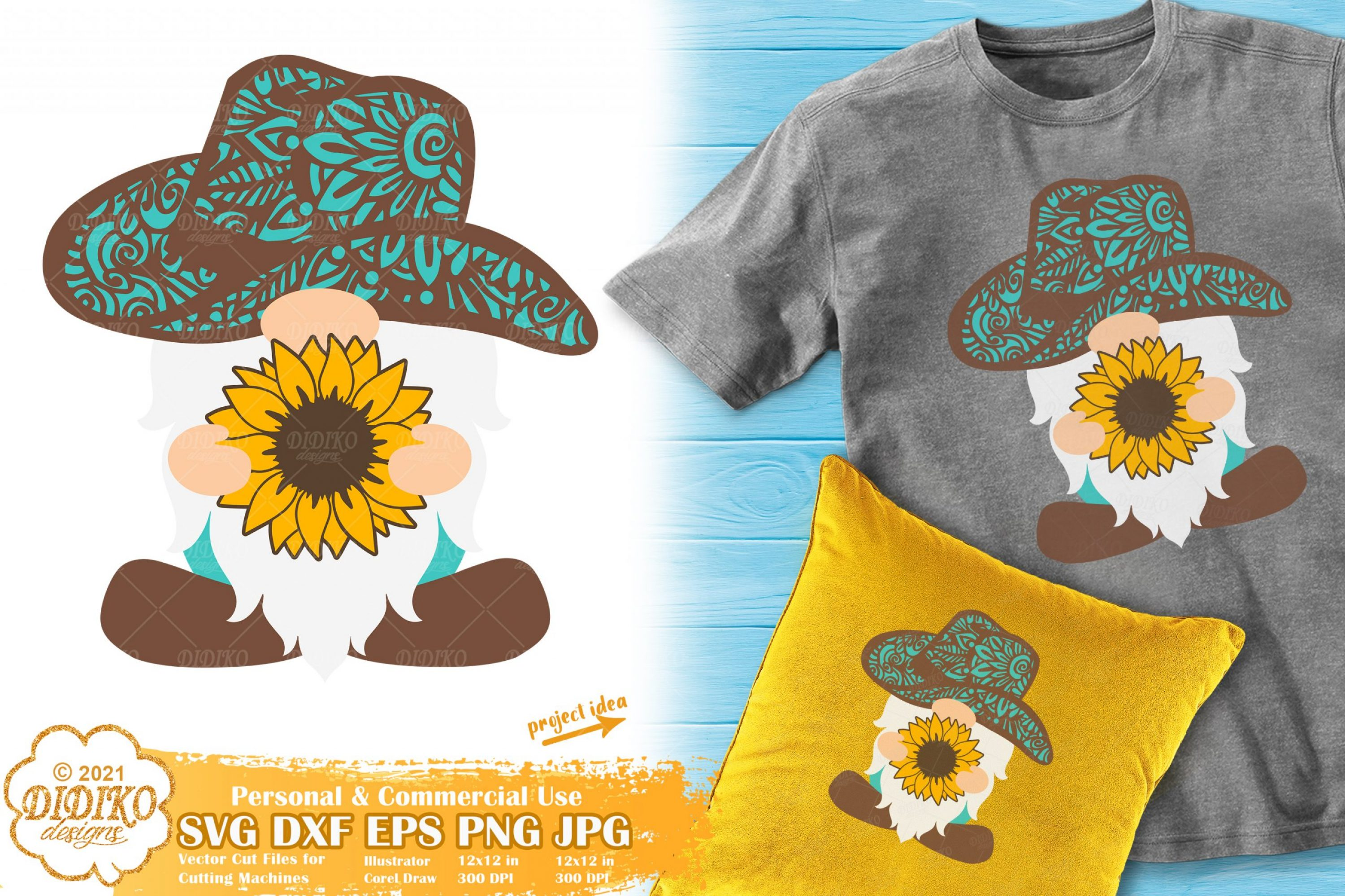 Gnome Sunflower SVG, Western Svg, Zentangle Svg
