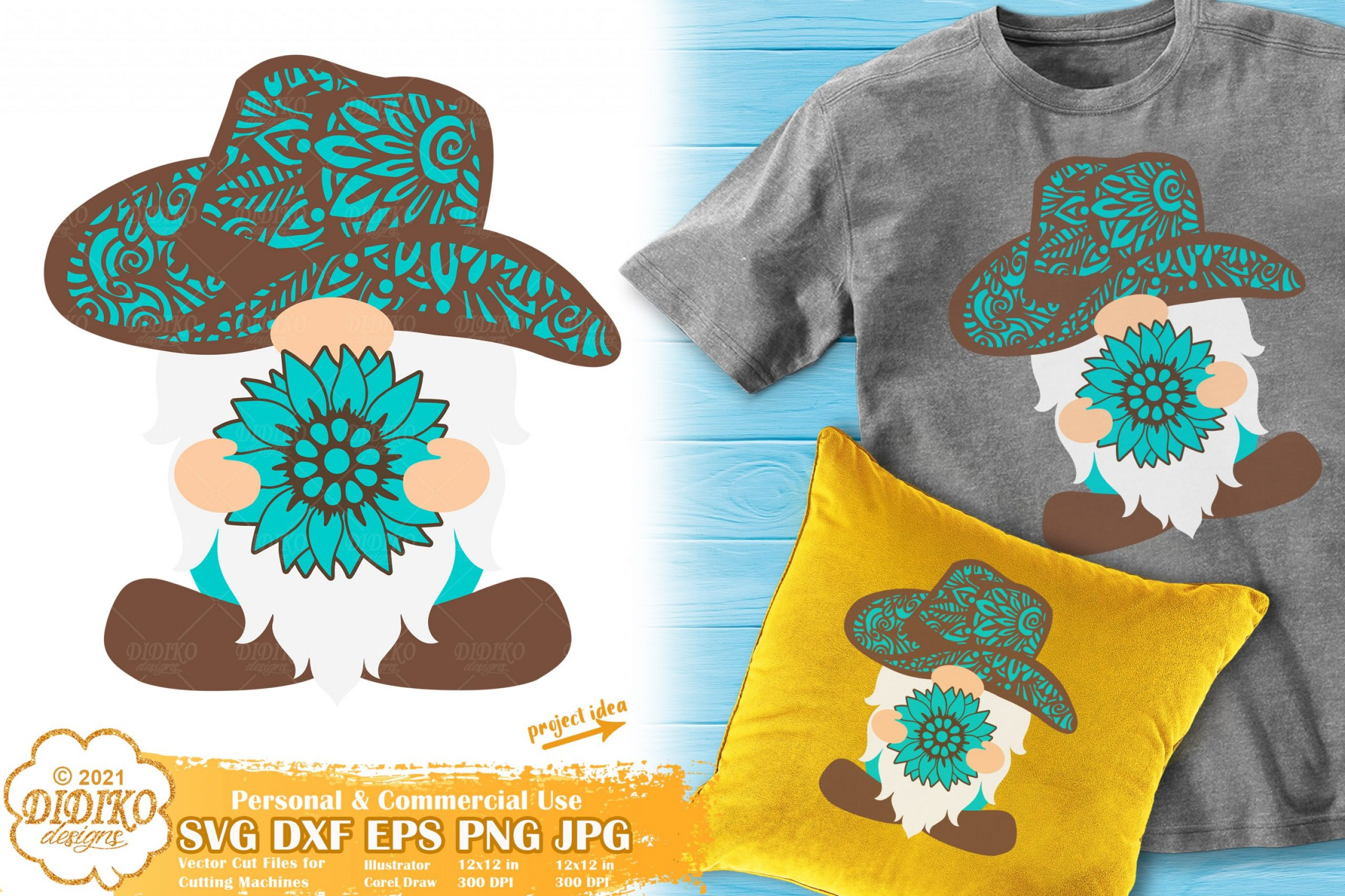 Sunflower Gnome SVG, Western Svg, Zentangle Svg
