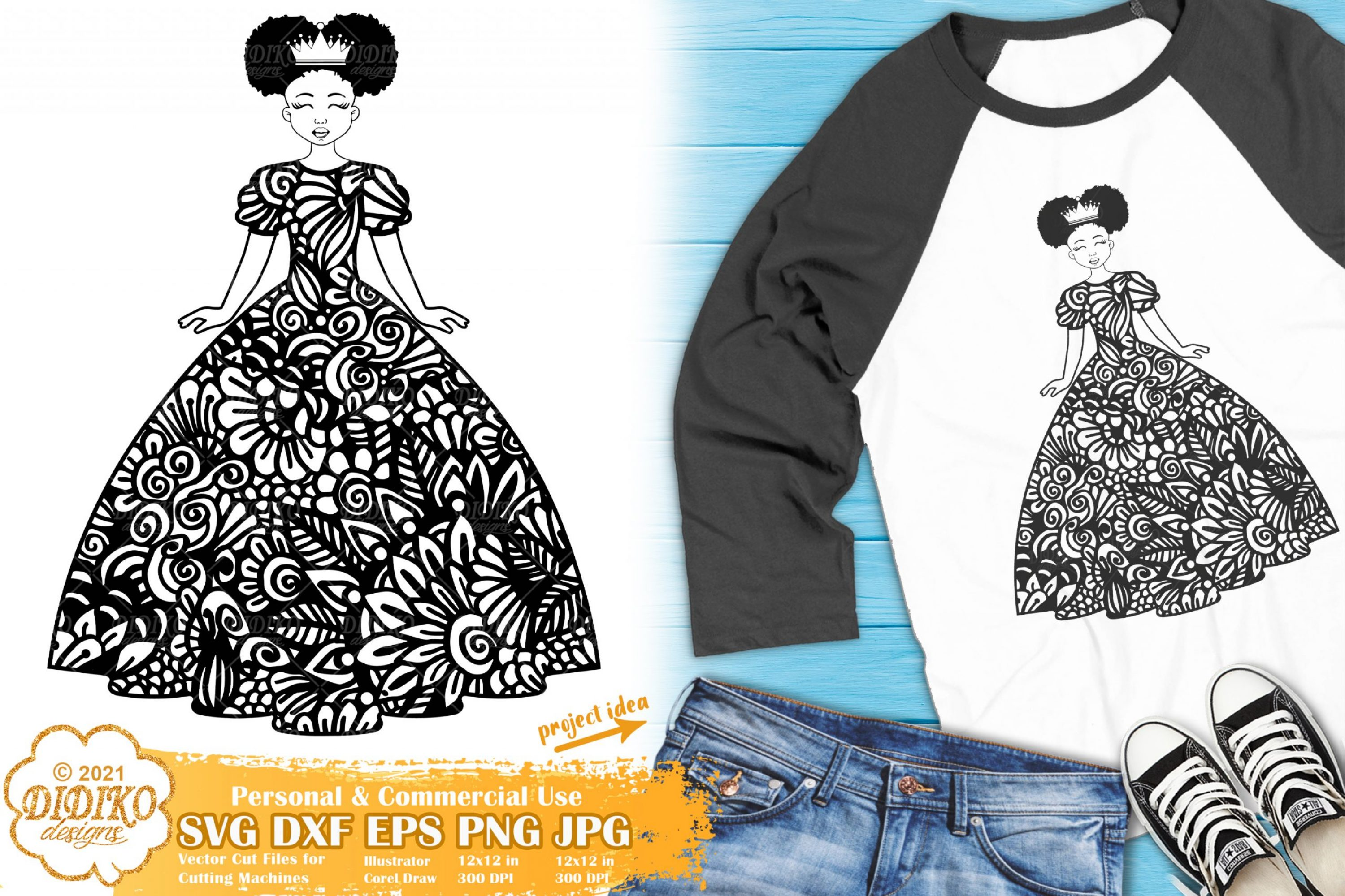 Zentangle Girl SVG #2, Cute Afro Girl with Crown SVG