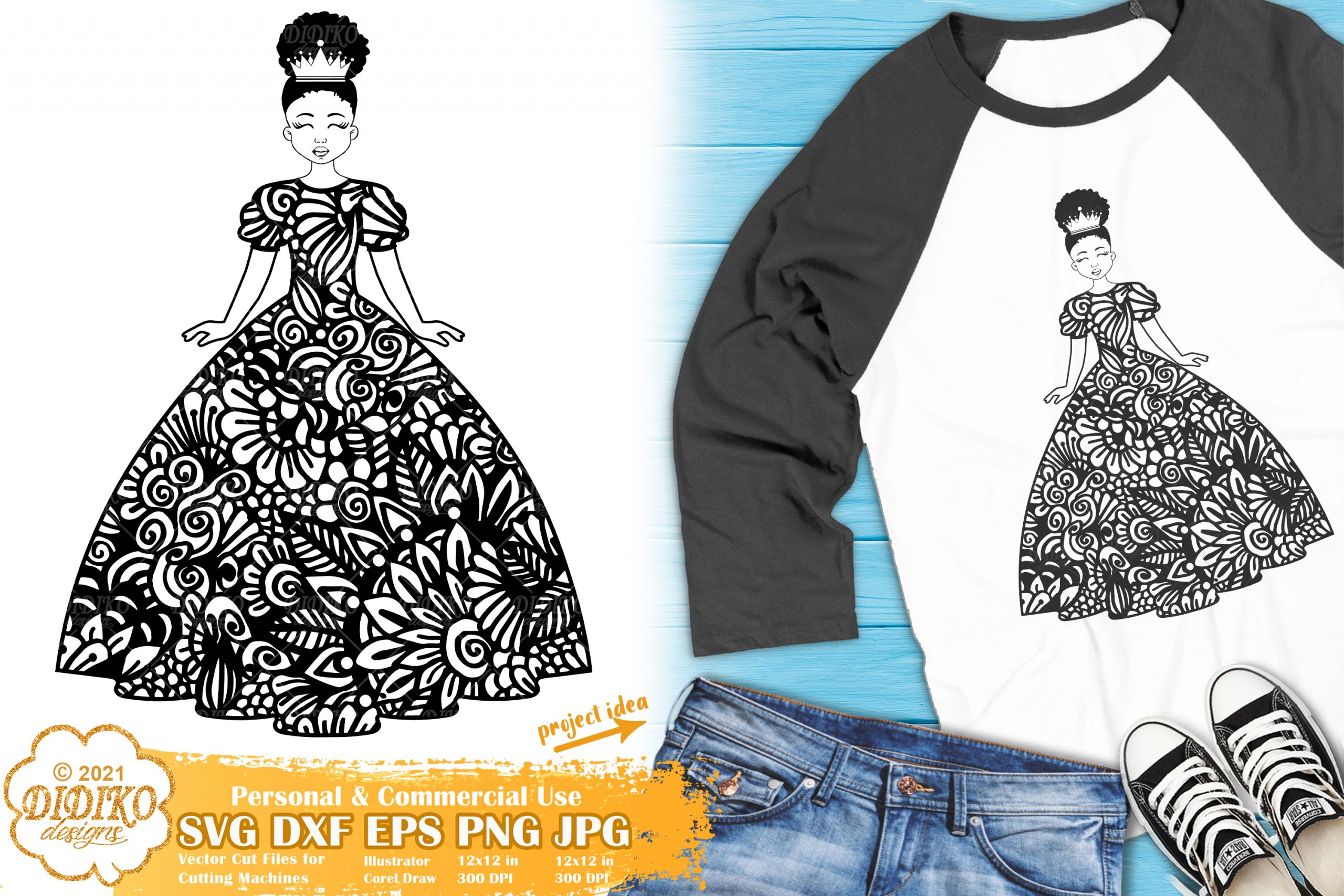 Zentangle Girl SVG #3