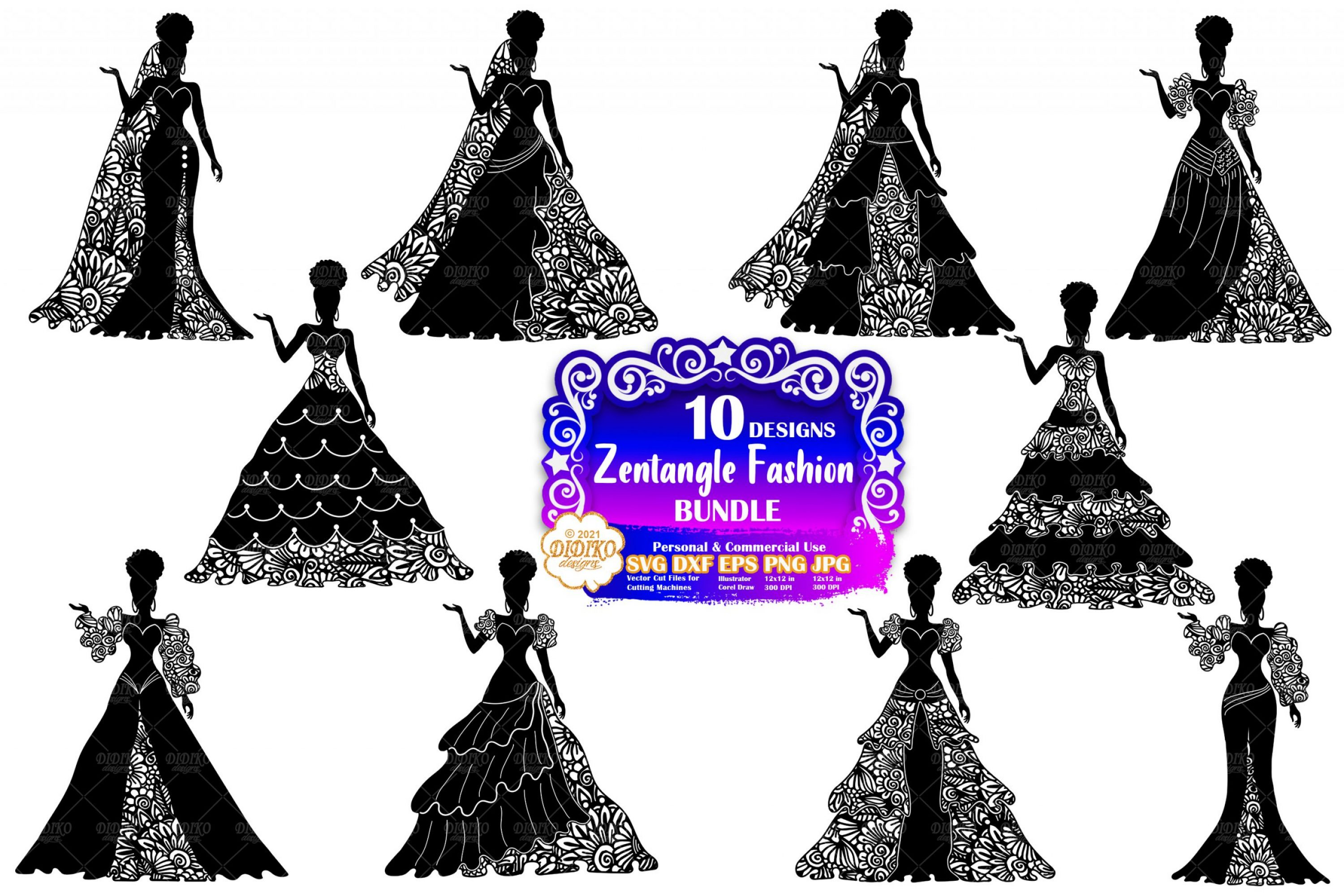 Zentangle Woman SVG Bundle, Wedding Svg, Bride Svg