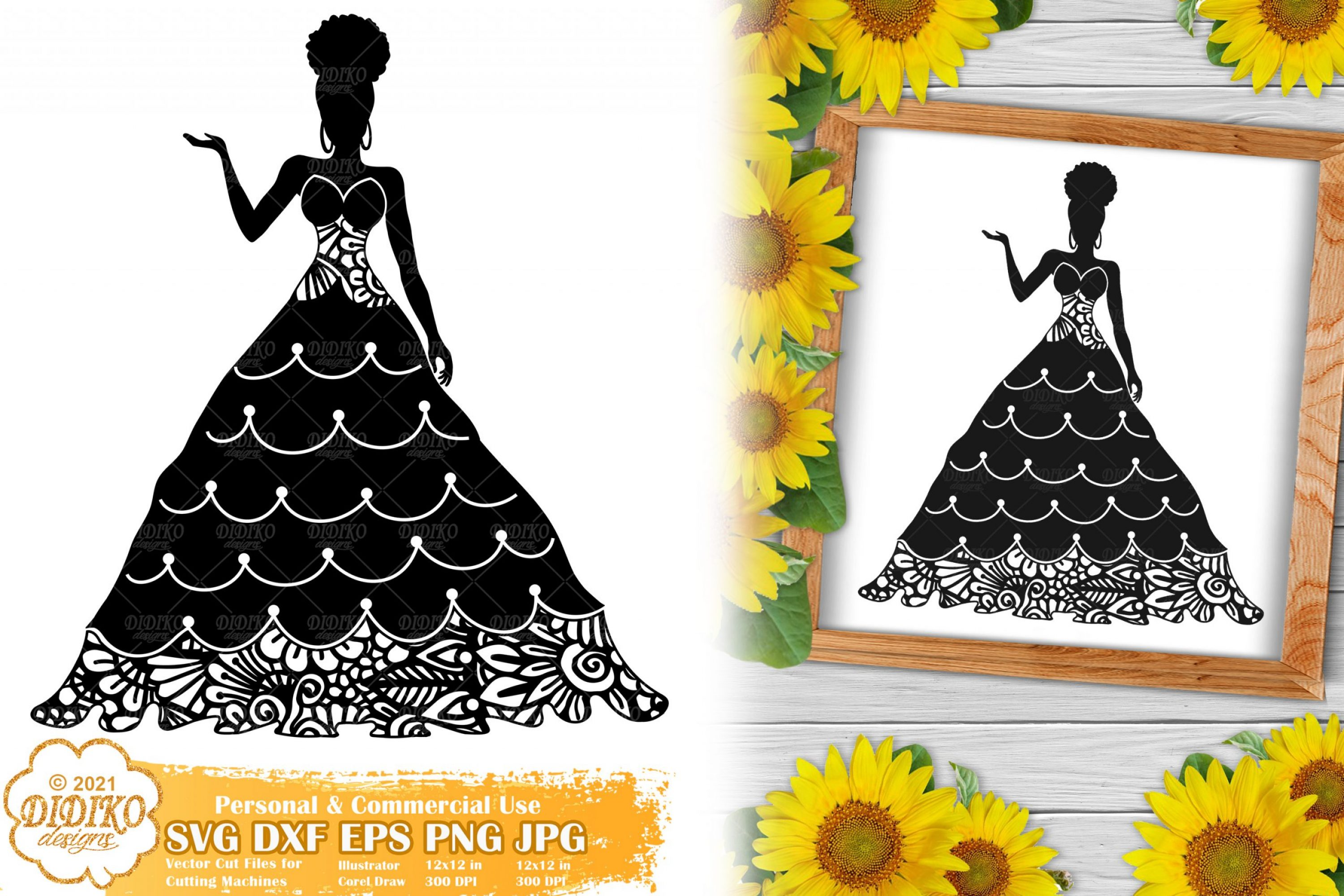 Zentangle Woman SVG #2, Wedding Svg, Paper Cut File
