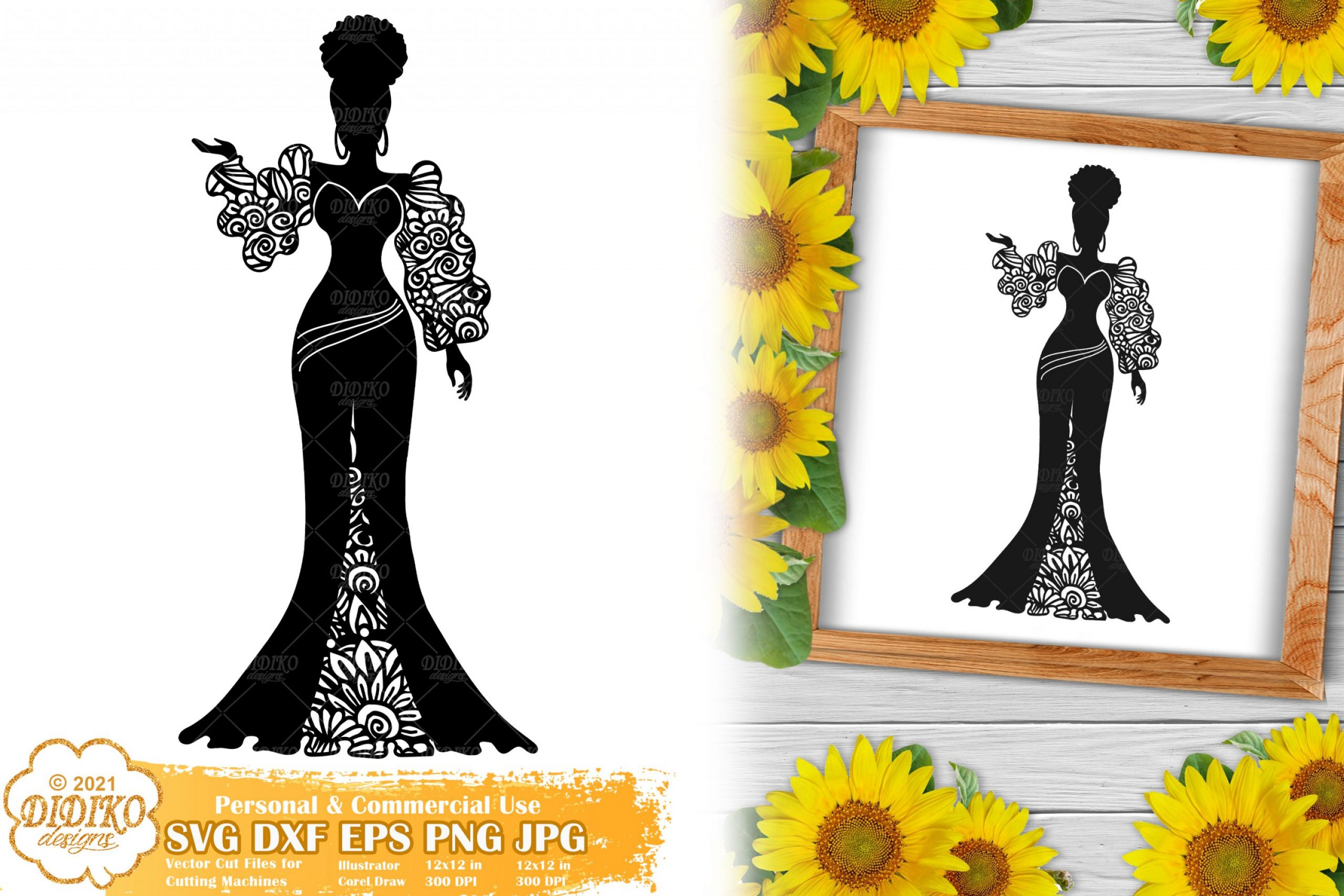 Zentangle Woman SVG #3, Wedding Svg, Paper Cut File