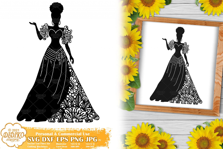 Zentangle Woman SVG #4, Wedding Svg, Paper Cut File