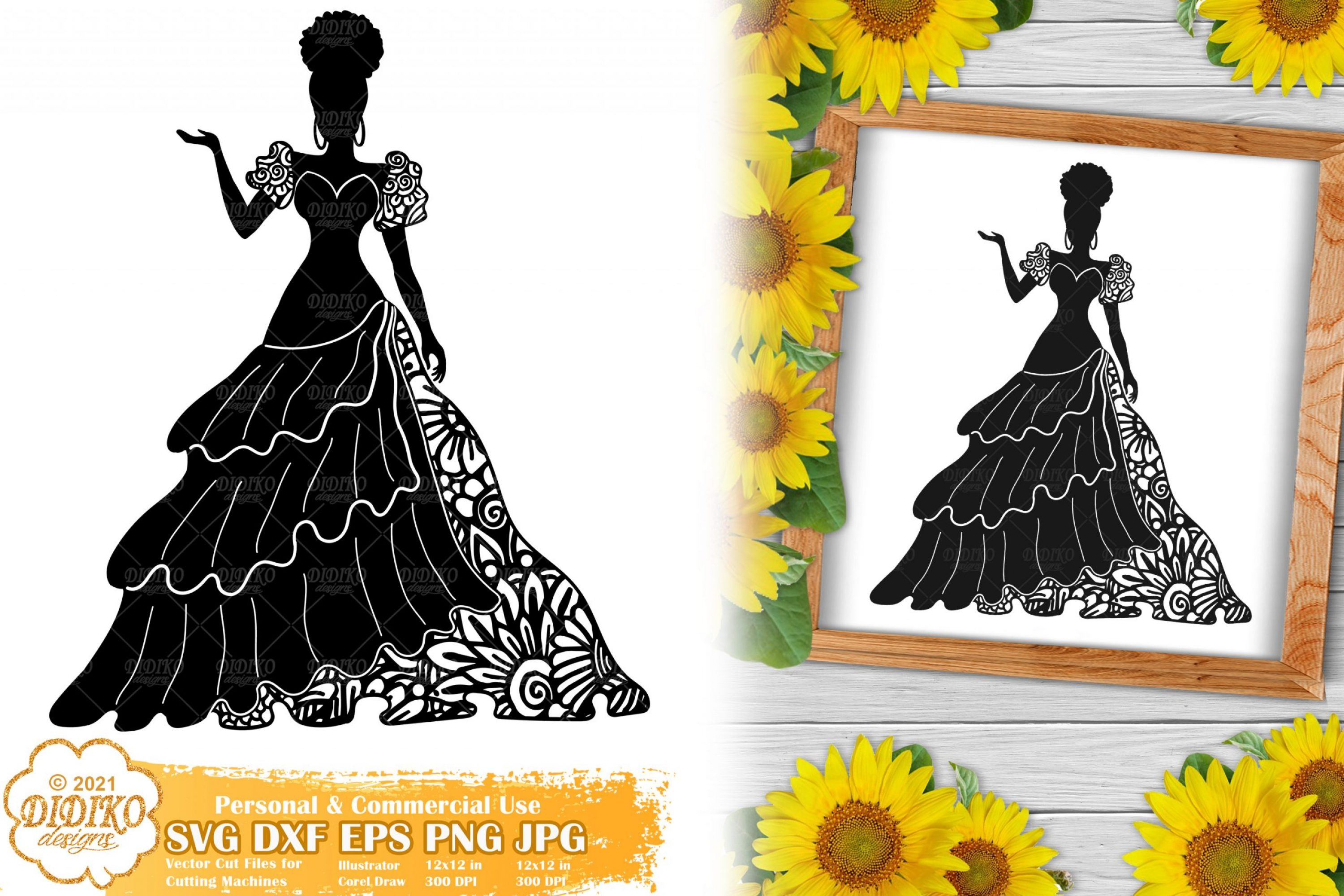 Zentangle Woman SVG #6, Wedding Svg, Paper Cut File