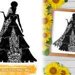 Zentangle Woman SVG #7