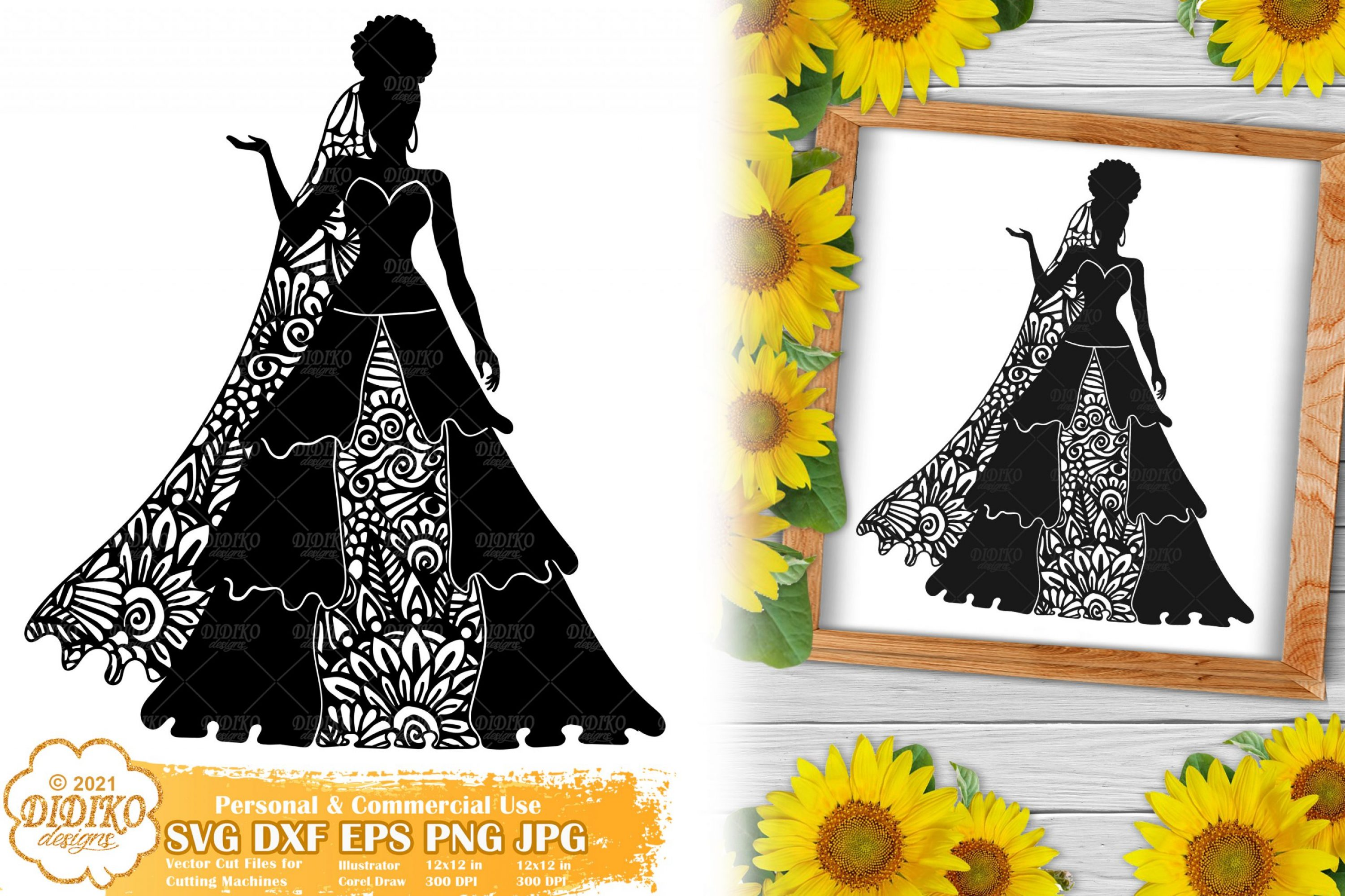 Zentangle Woman SVG #7, Wedding Svg, Paper Cut File