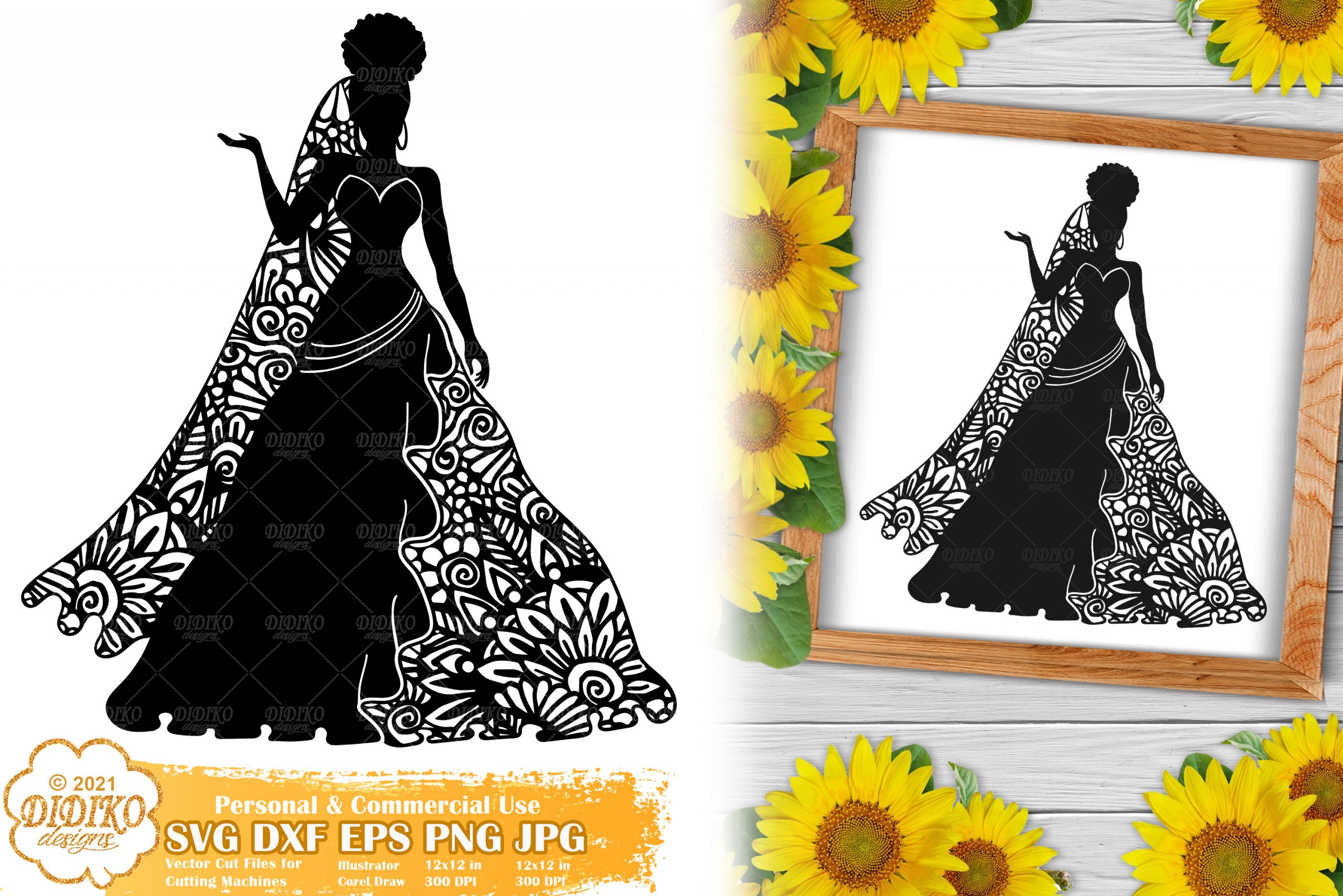 Zentangle Woman SVG #9