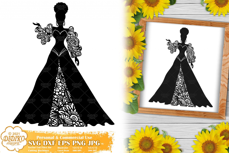 Zentangle Woman SVG #1, Wedding Svg, Paper Cut File