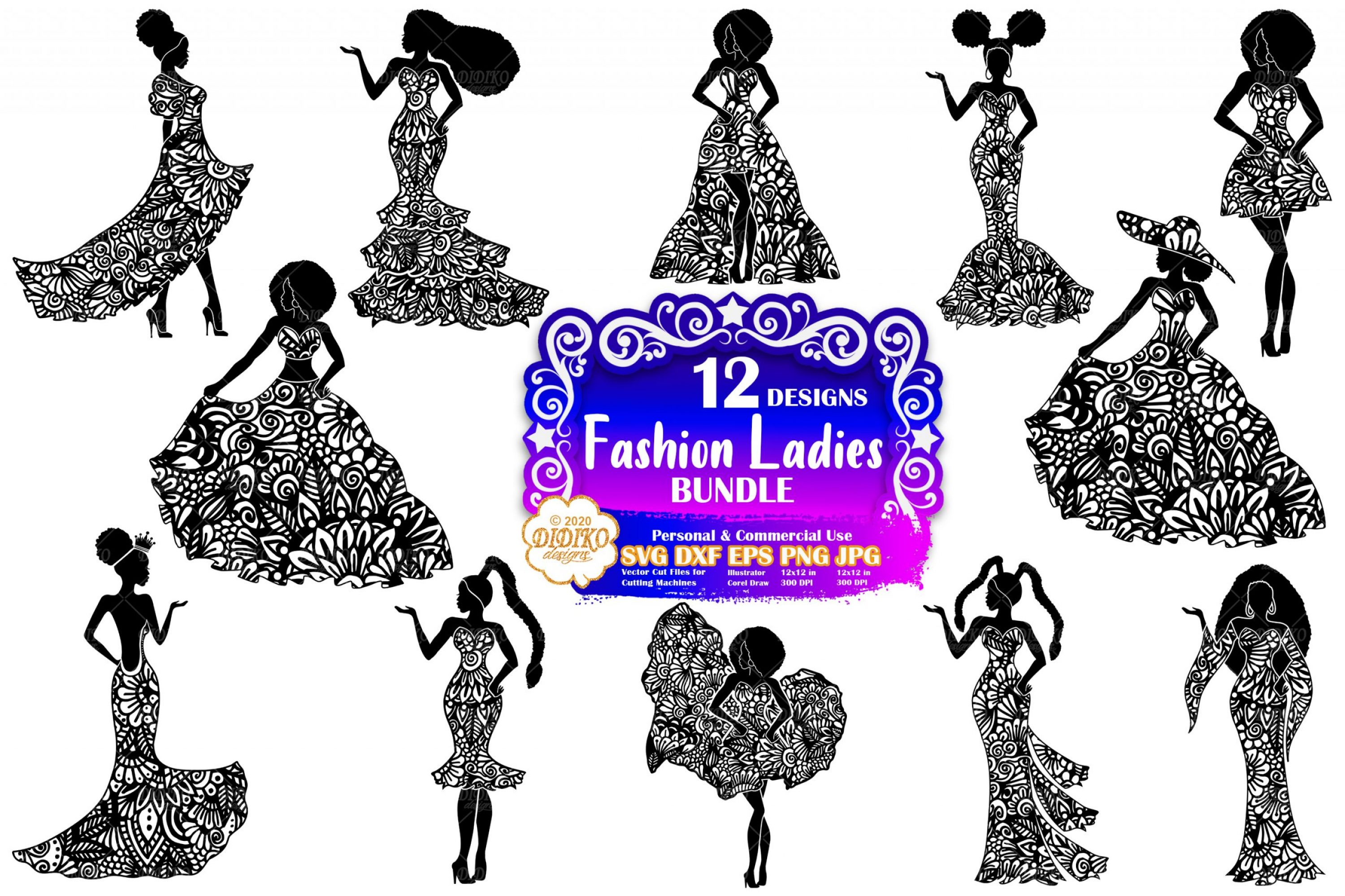 Fashion Women SVG Bundle, Zentangle, Fashion Clipart