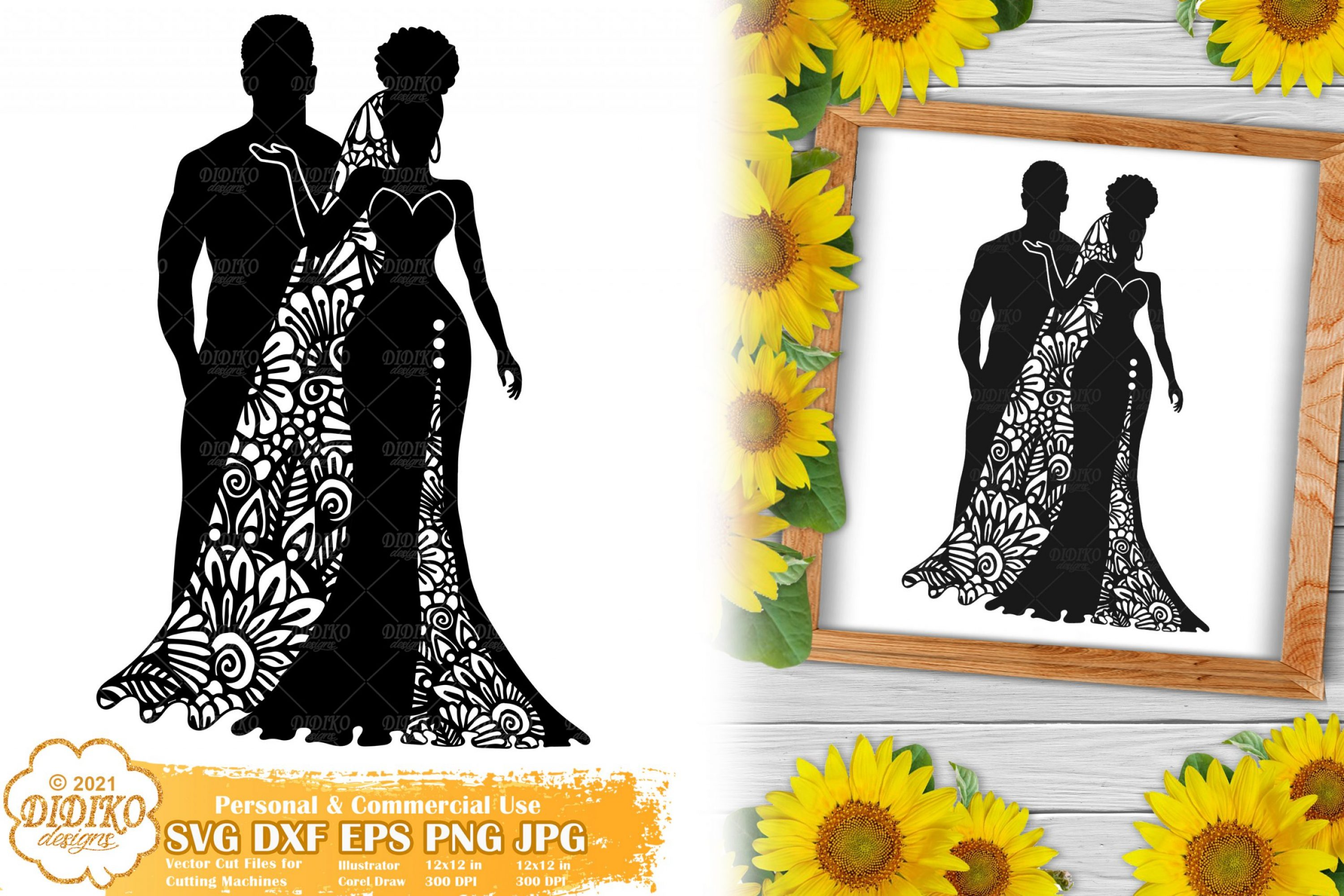 Zentangle Wedding SVG #2, Bride Svg, Paper Cut File