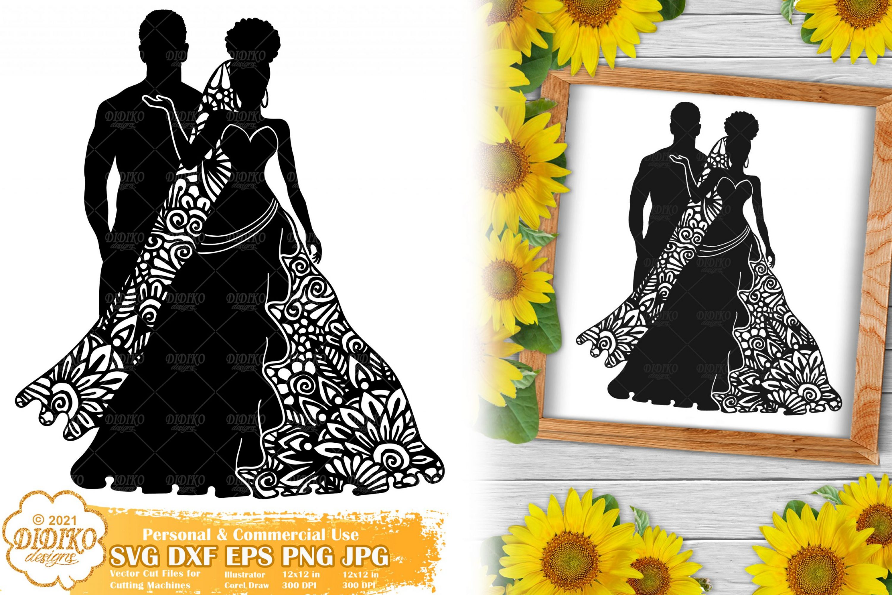 Zentangle Wedding SVG #3, Bride Svg, Paper Cut File