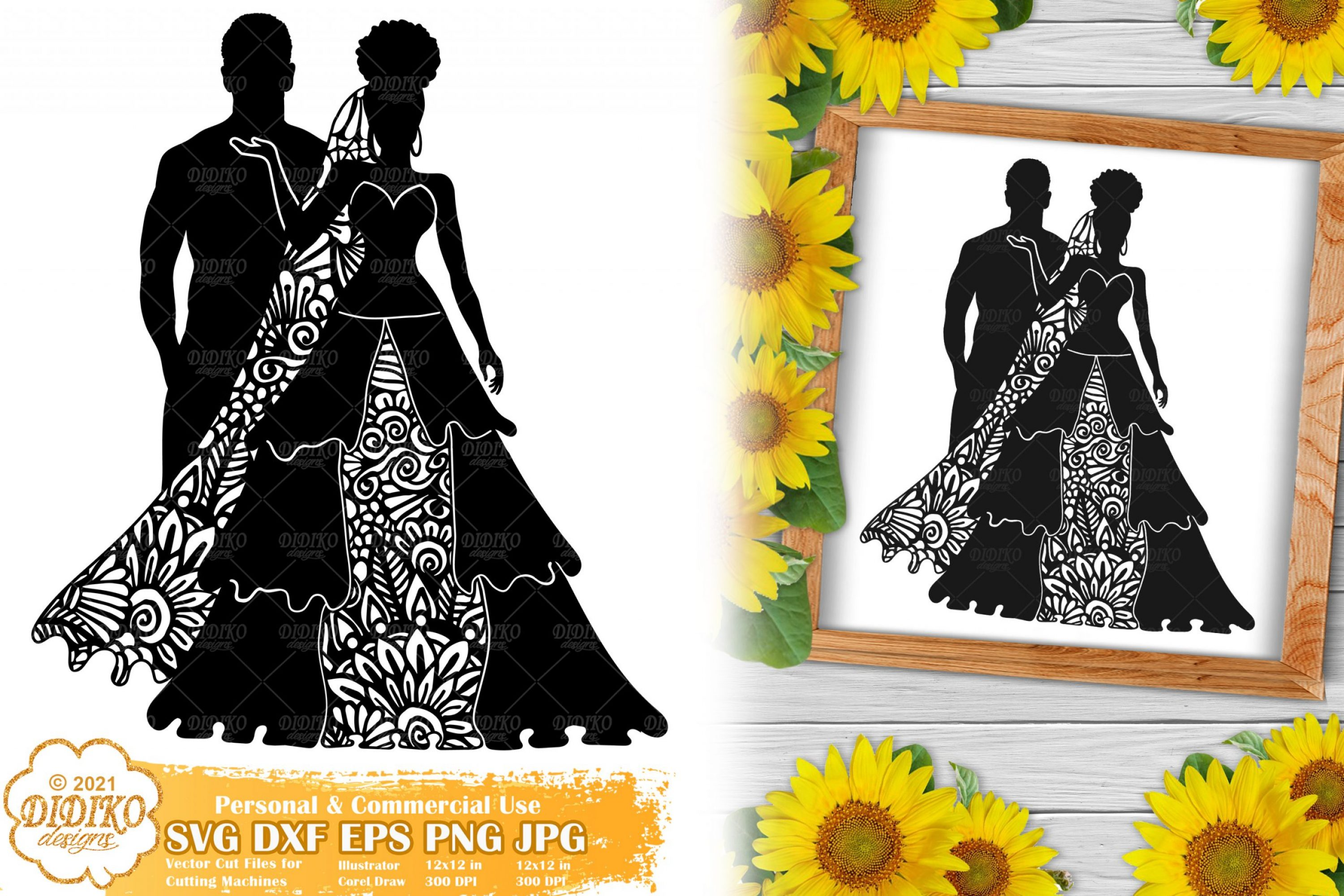 Zentangle Wedding SVG #1, Bride Svg, Paper Cut File