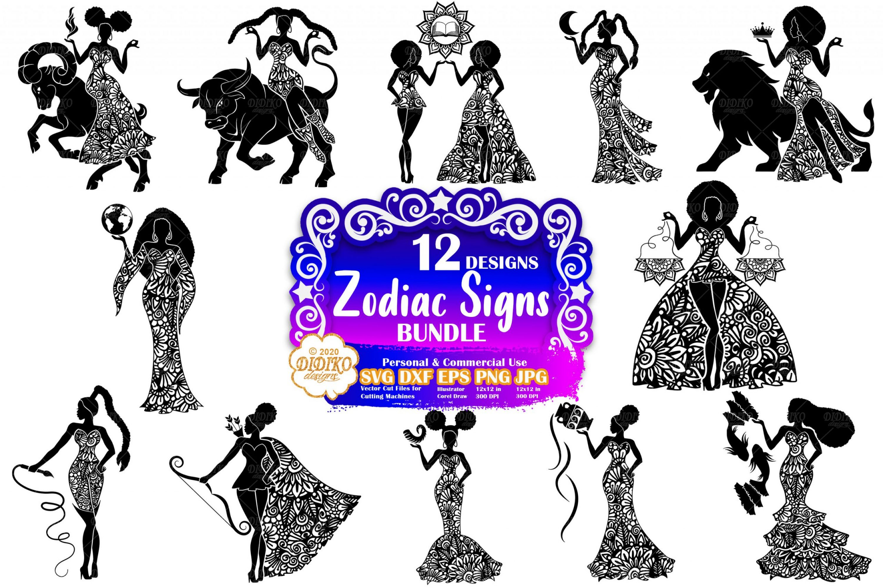 Black Women Zodiac Signs SVG, Zentangle Svg Bundle