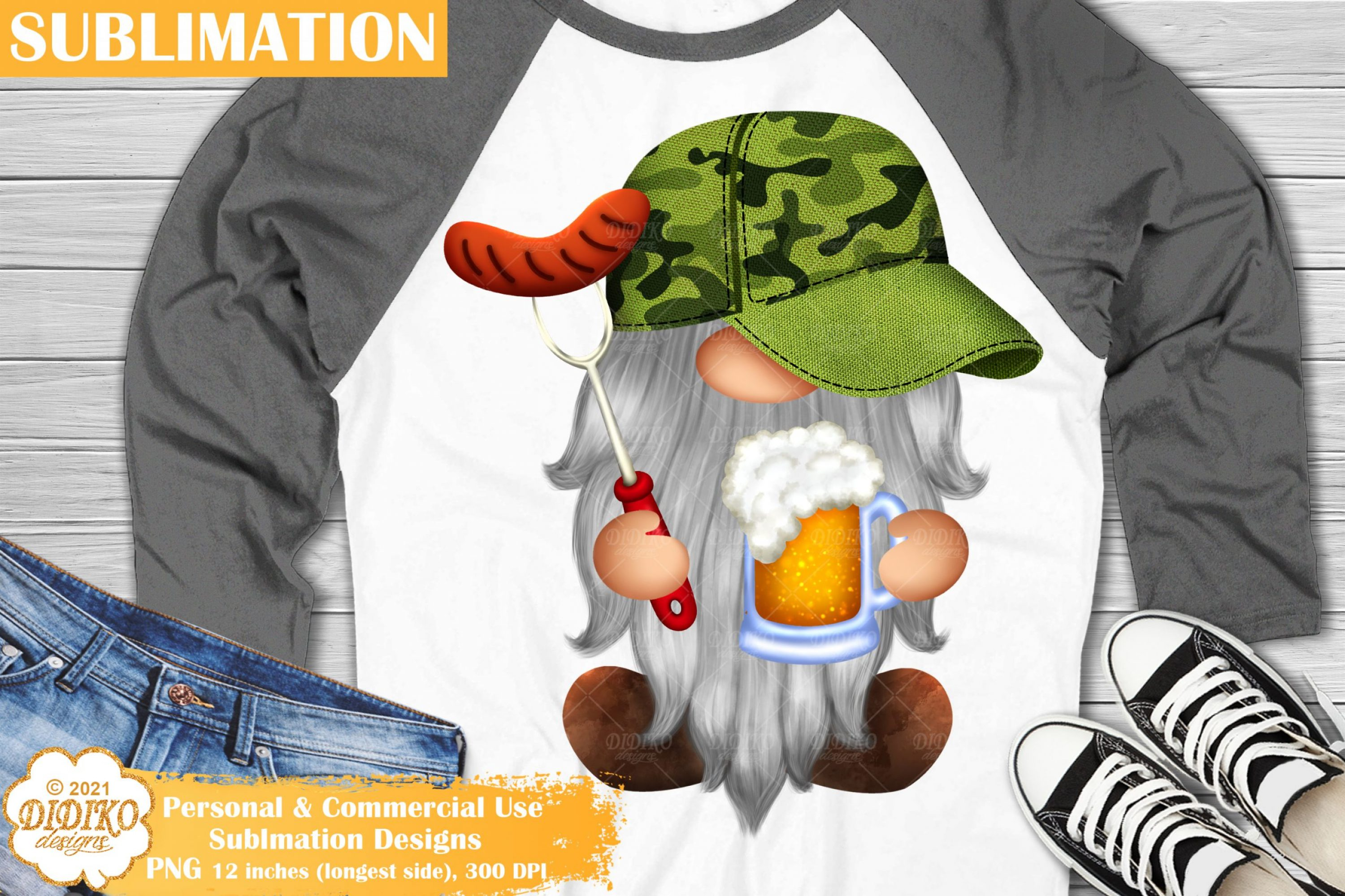 Barbeque Gnome Sublimation, Fathers Day Gnome Png