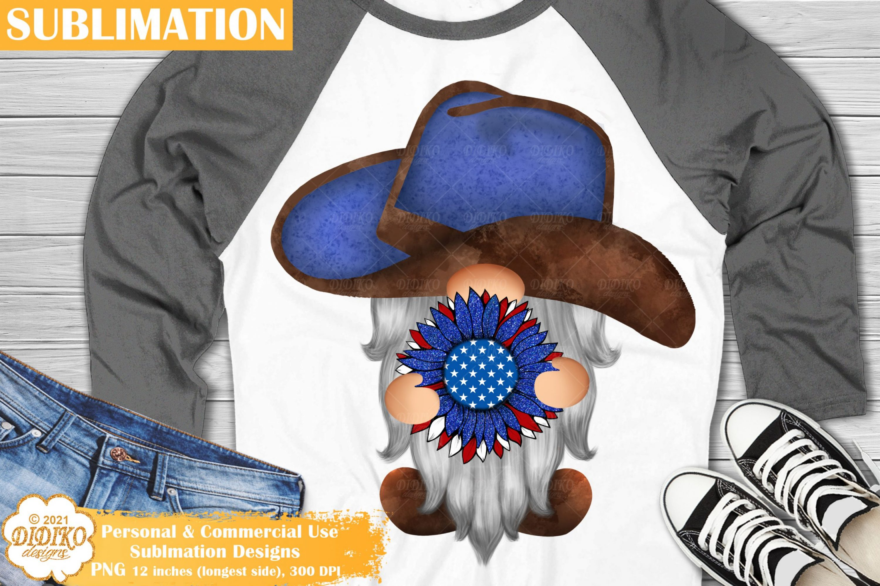 4th of July Gnome Sublimation #1, Western Png