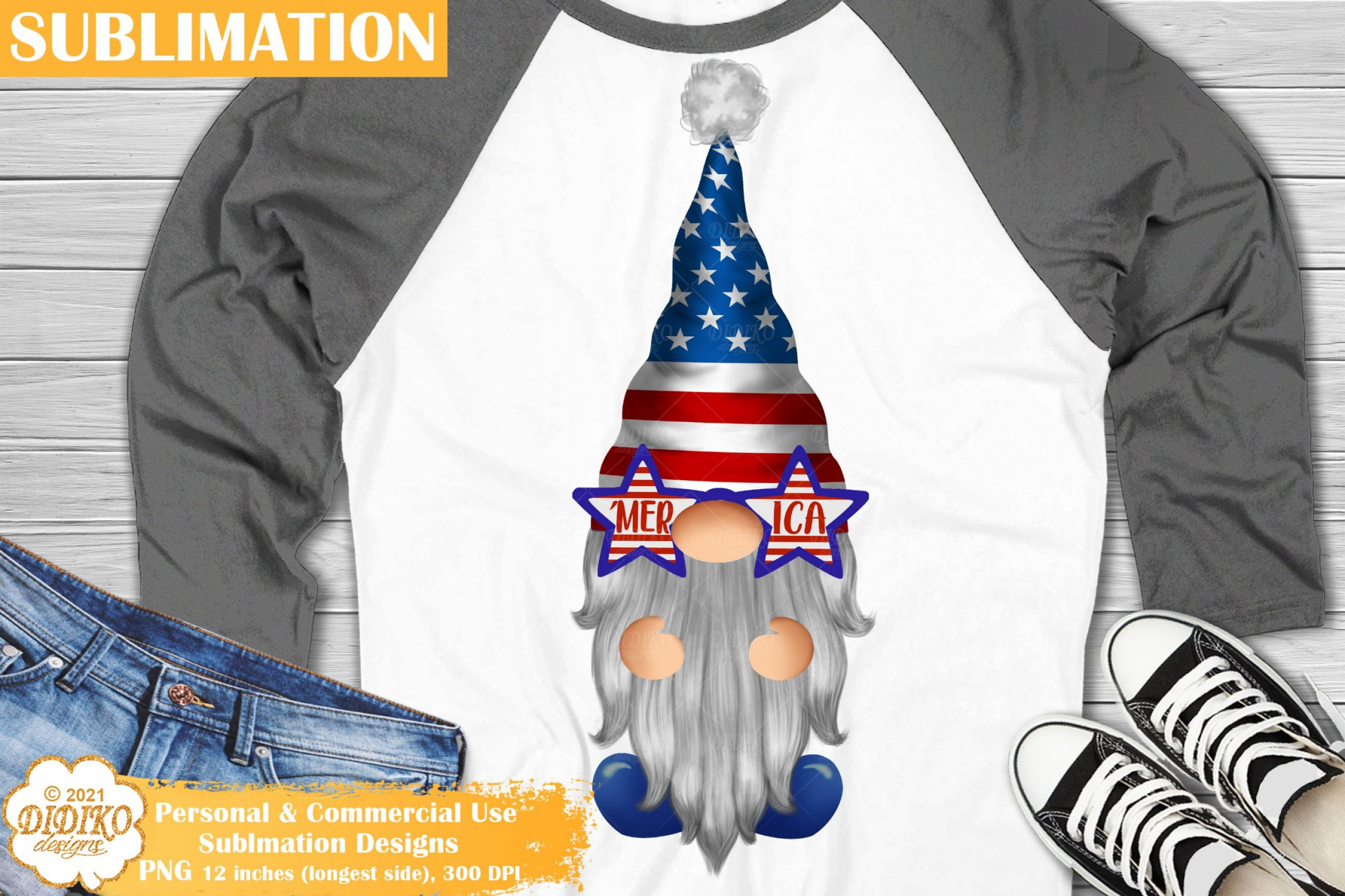 4th of July Gnome Sublimation #2, Merica Glasses Png