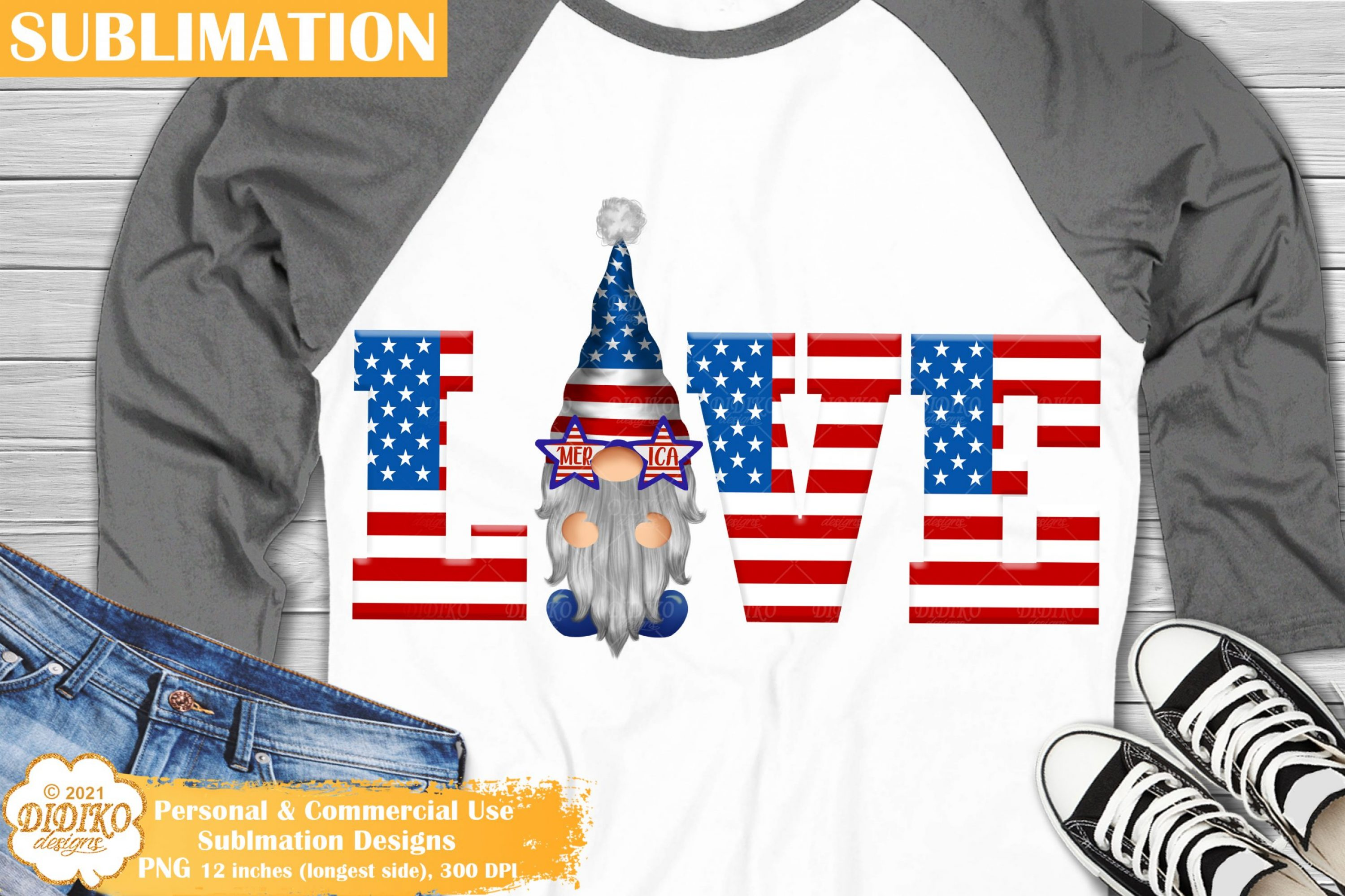 4th of July Gnome Sublimation #3, Love America Png