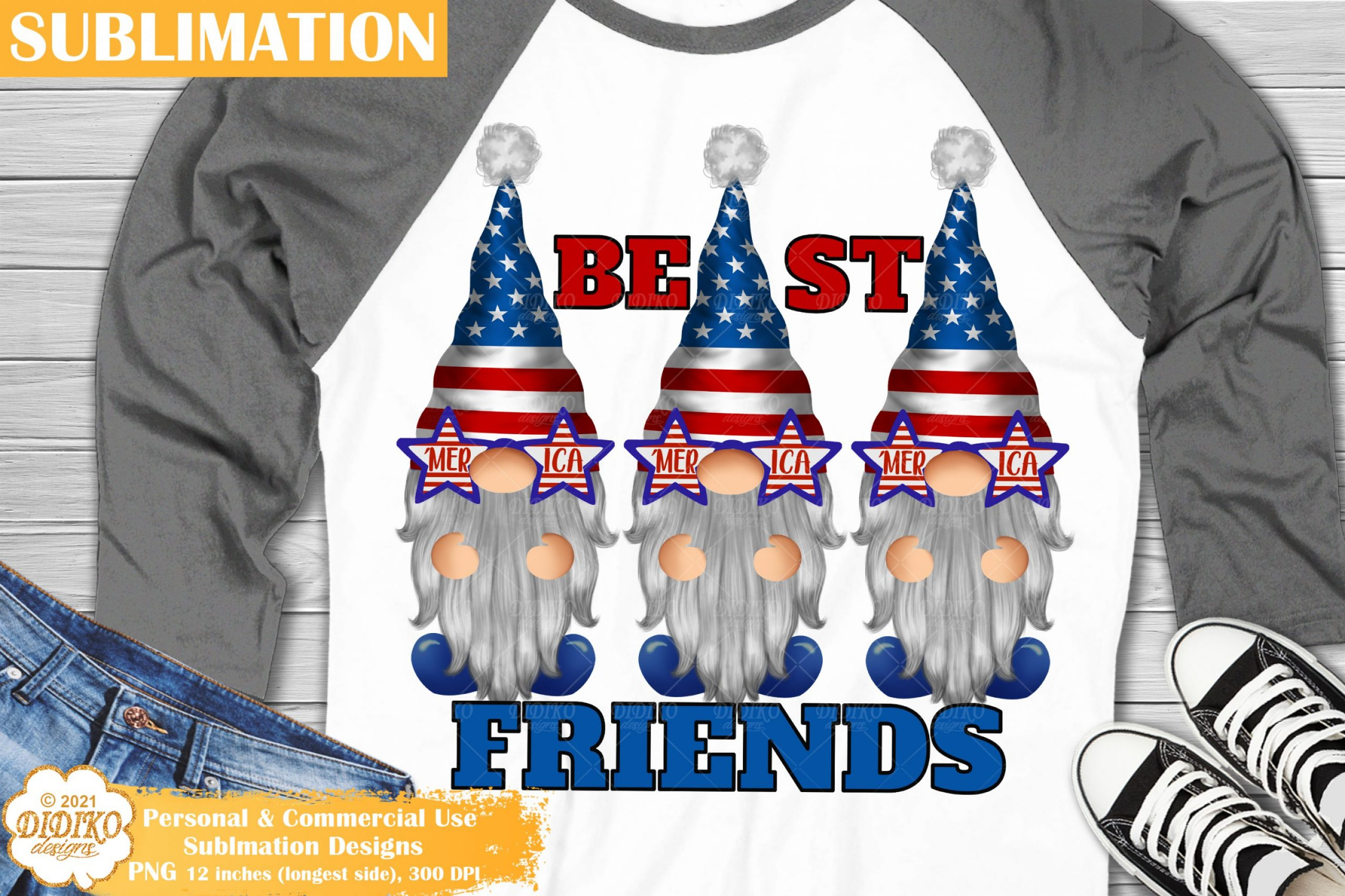 4th of July Gnomes Sublimation, Patriotic Gnomes Png