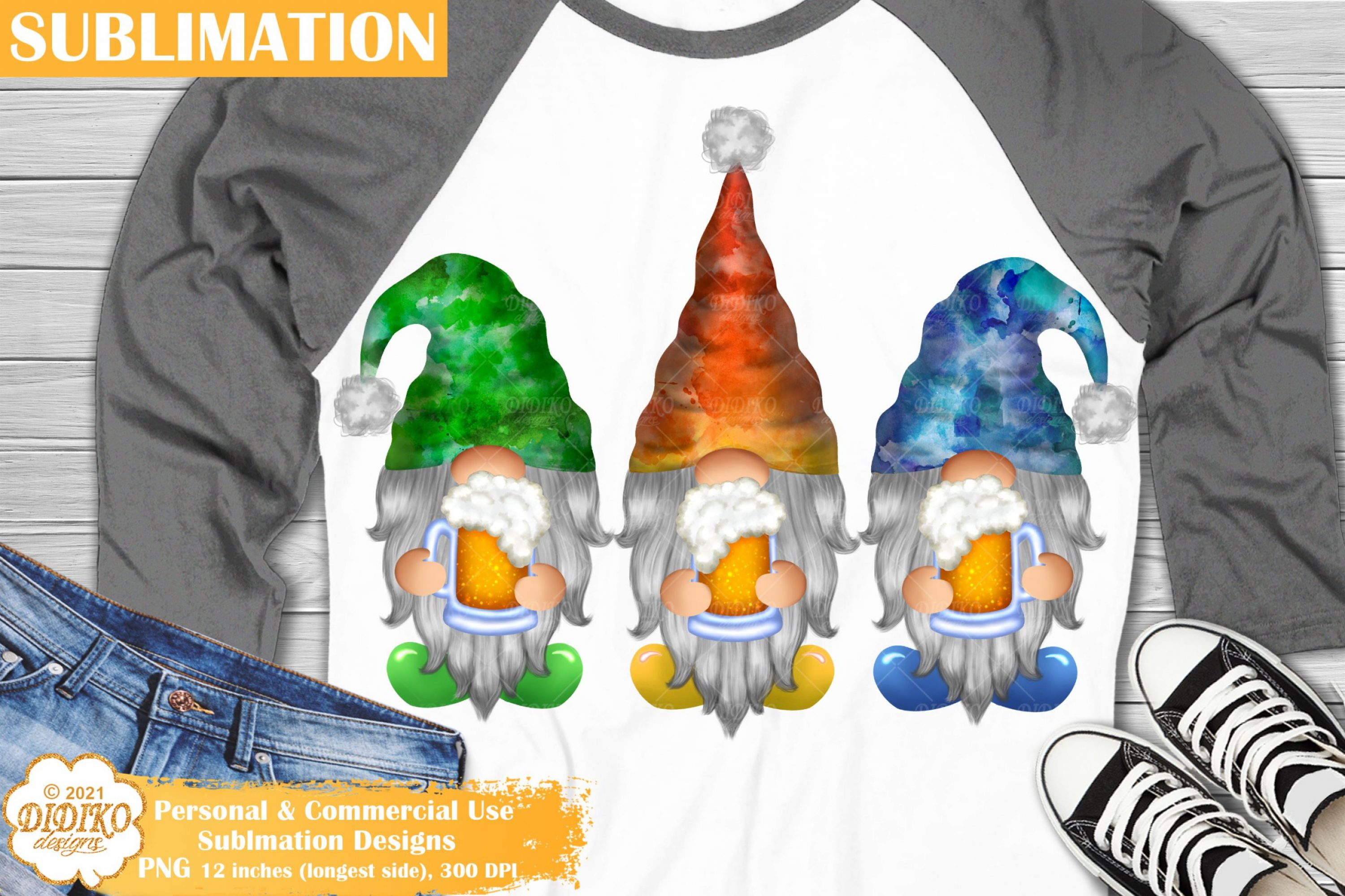 Beer Gnomes Sublimation, Camping Gnomes png clipart