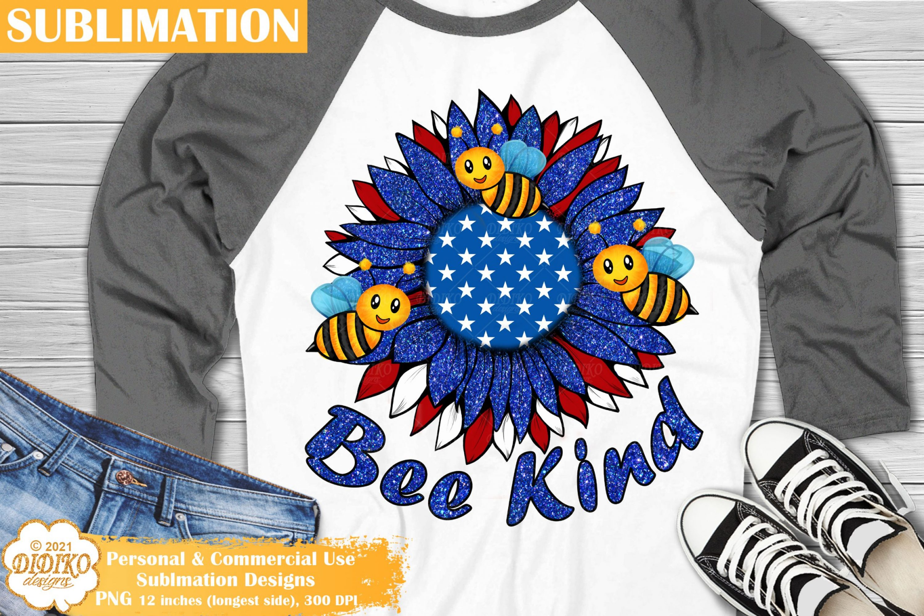 Be Kind Sublimation, Bee Png, 4th of July Sunflower Png