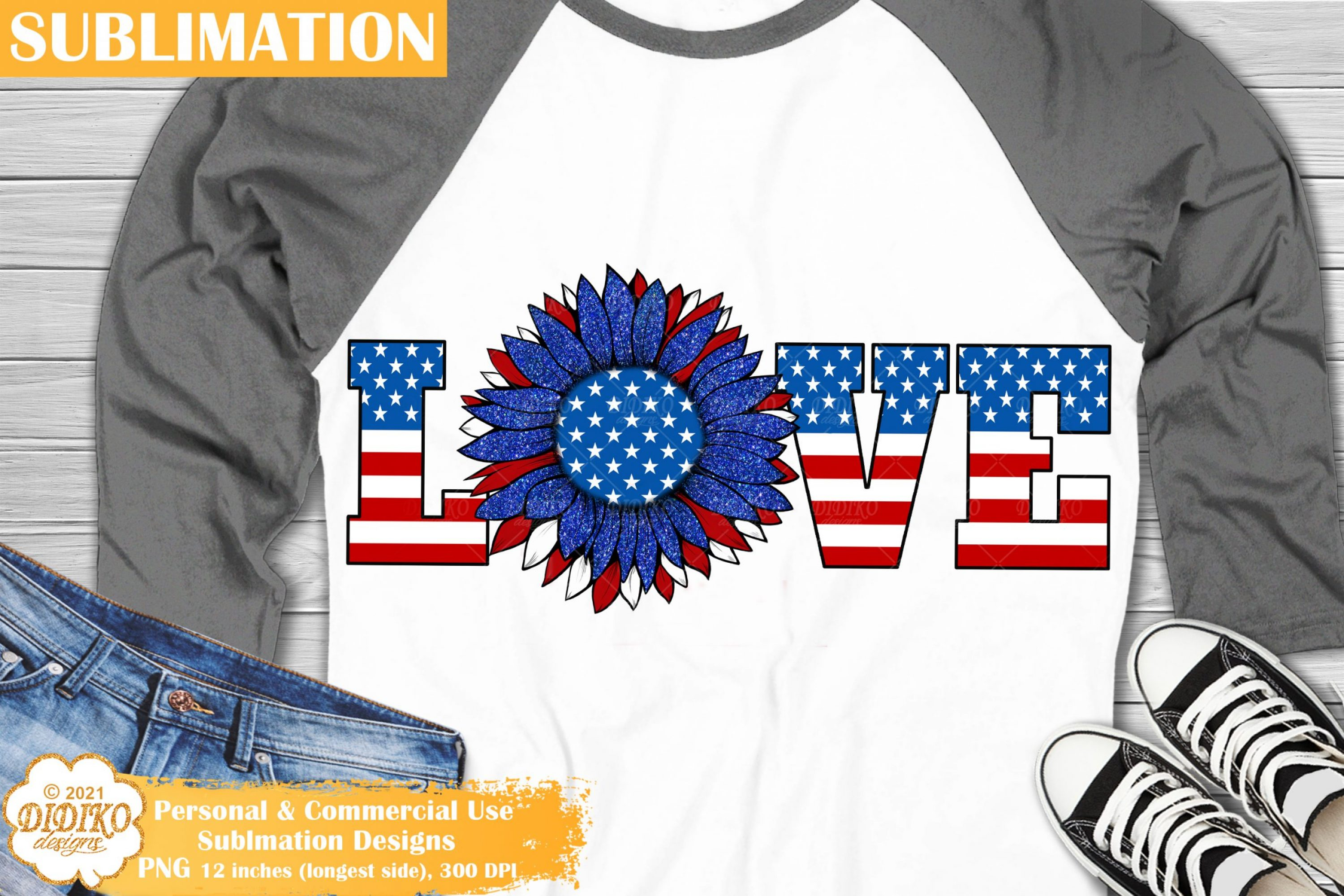 4th of July Love Sublimation, Patriotic Sunflower Png