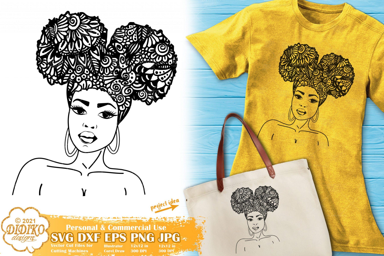 Zentangle Woman SVG #3, Black woman Svg, Afro puffs
