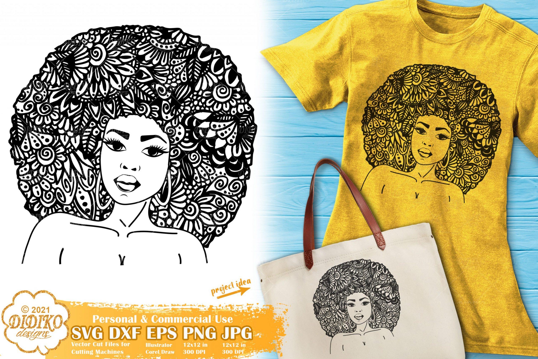 Zentangle Woman SVG #1, Black Woman Svg, Afro Hair
