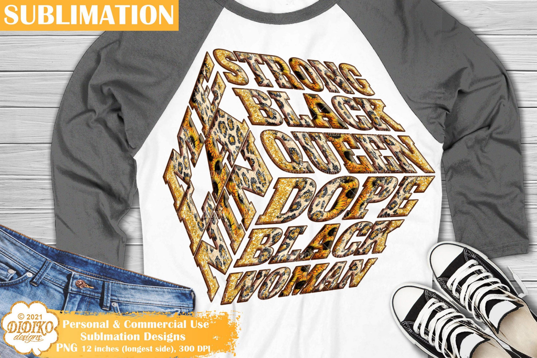 Black Woman Quotes Sublimation, Leopard Png Cube
