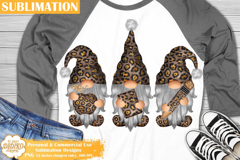 Teacher Gnomes Sublimation, Leopard School Png