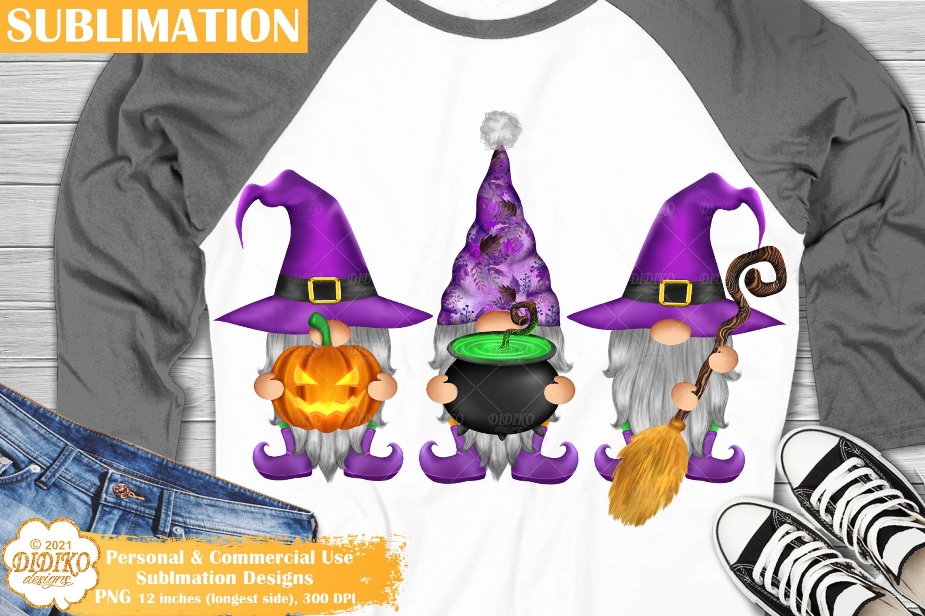 Halloween Gnomes Sublimation, Pumpkin Witch Hat Png