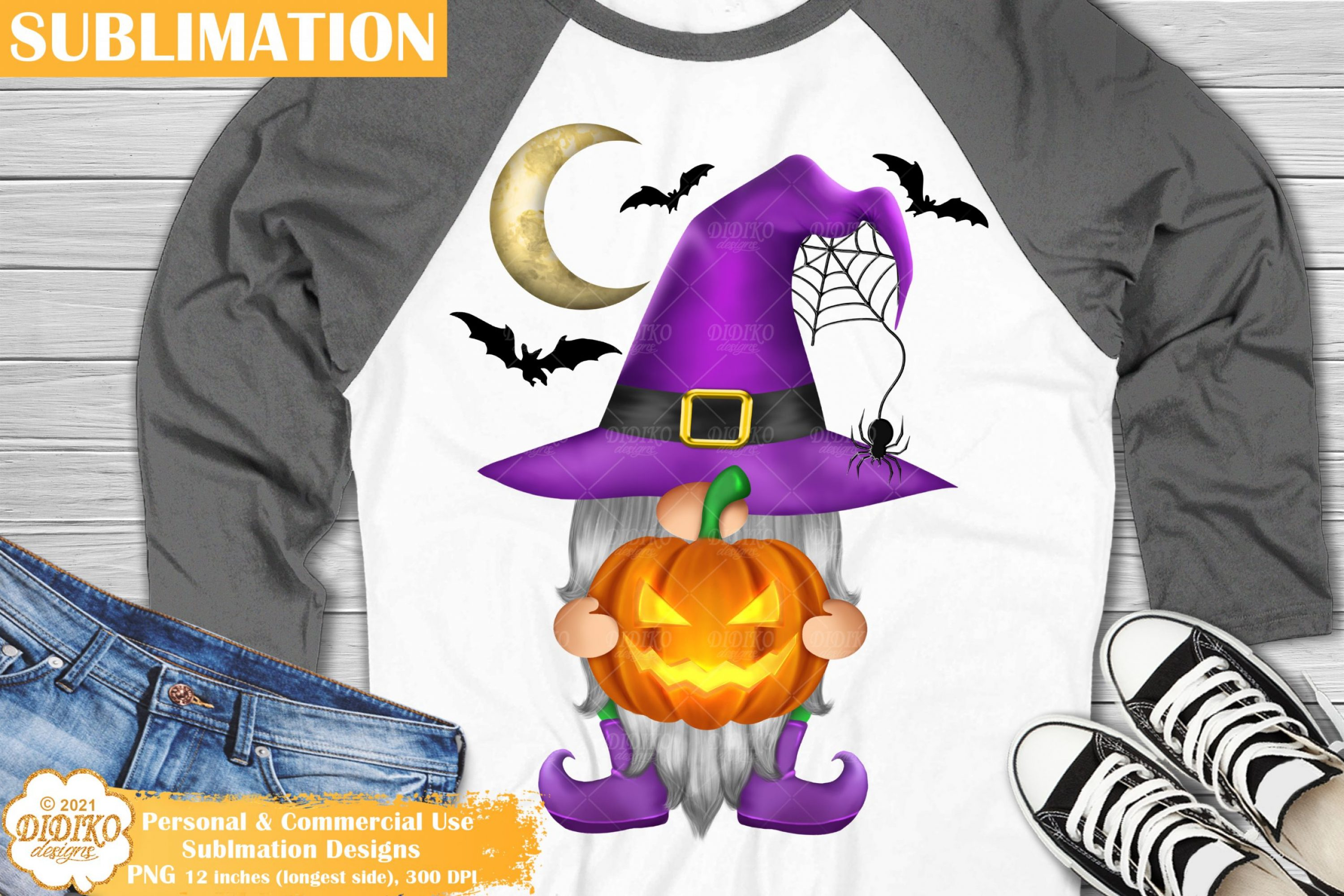 Halloween Gnome Sublimation, Spooky Pumpkin Png