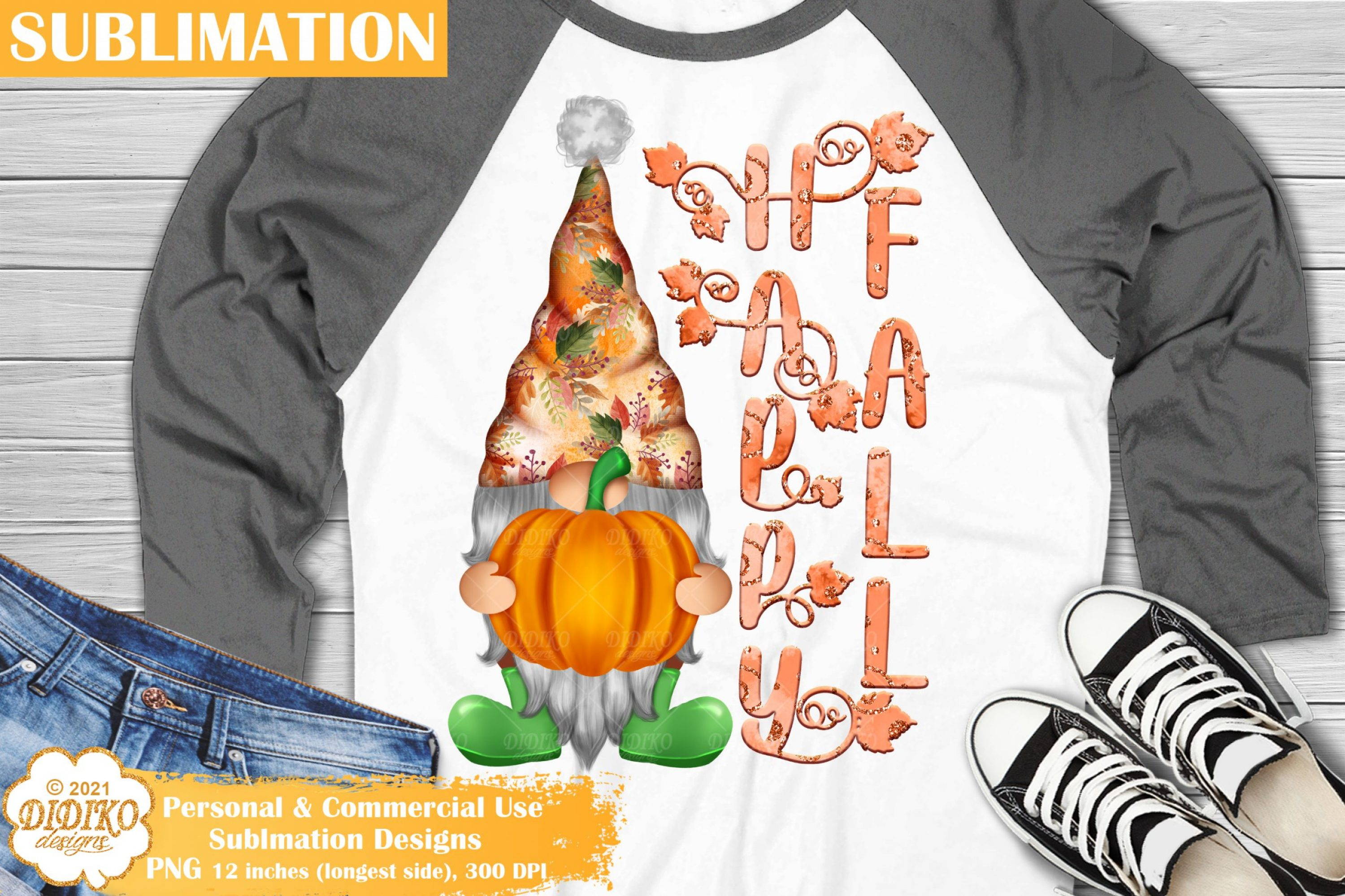 Happy Fall Gnome Sublimation, Pumpkin Gnome Png