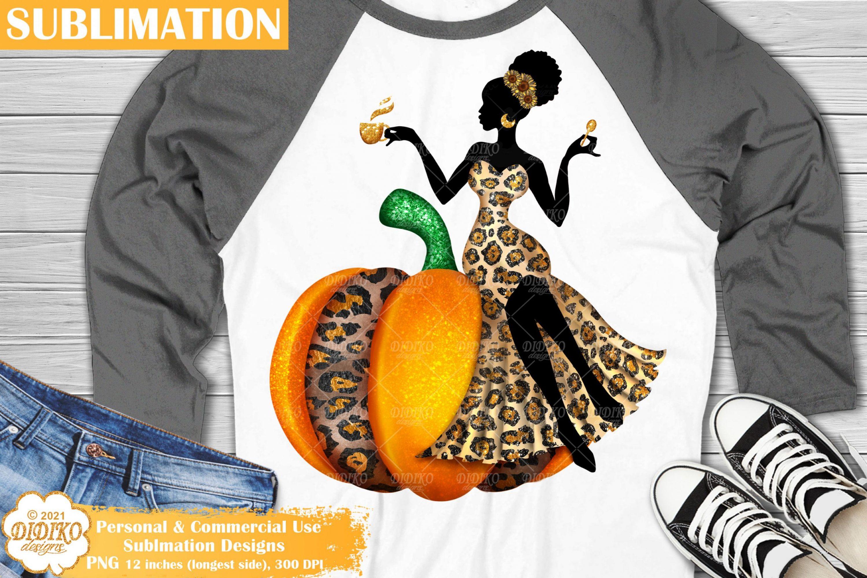 Pumpkin Woman Sublimation, Black Woman Sublimation