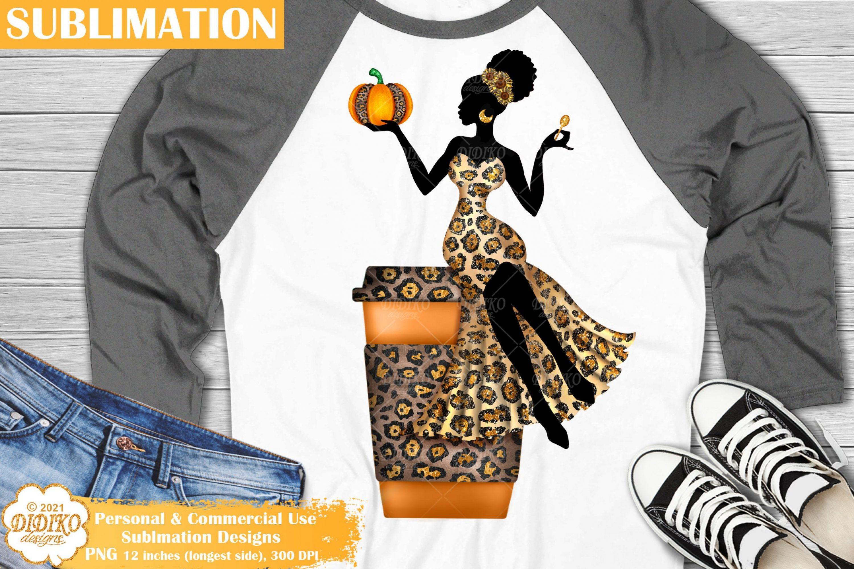 Pumpkin Spice Woman Sublimation, Black Woman Png