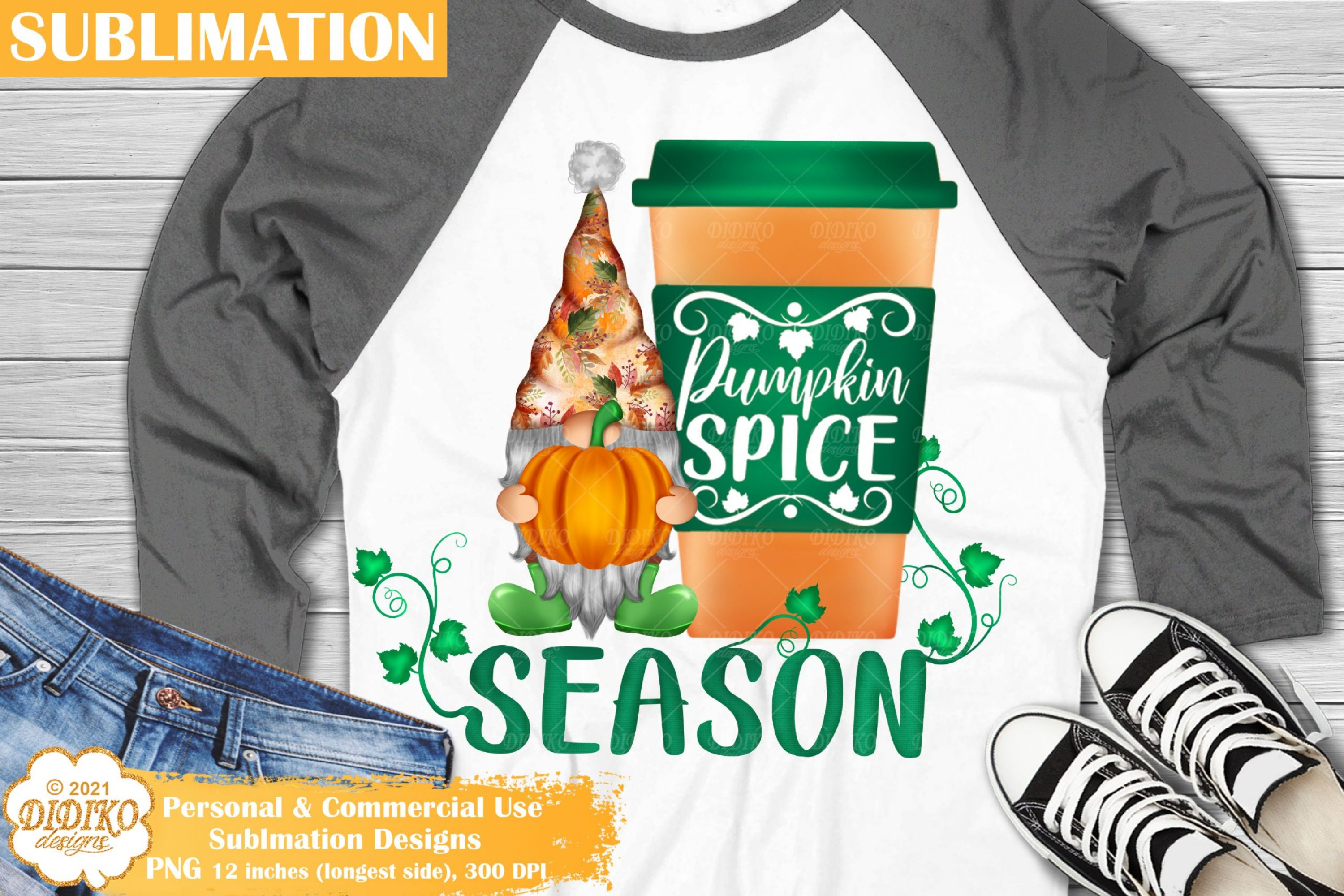Pumpkin Gnome Sublimation, Fall Gnome Png Clipart