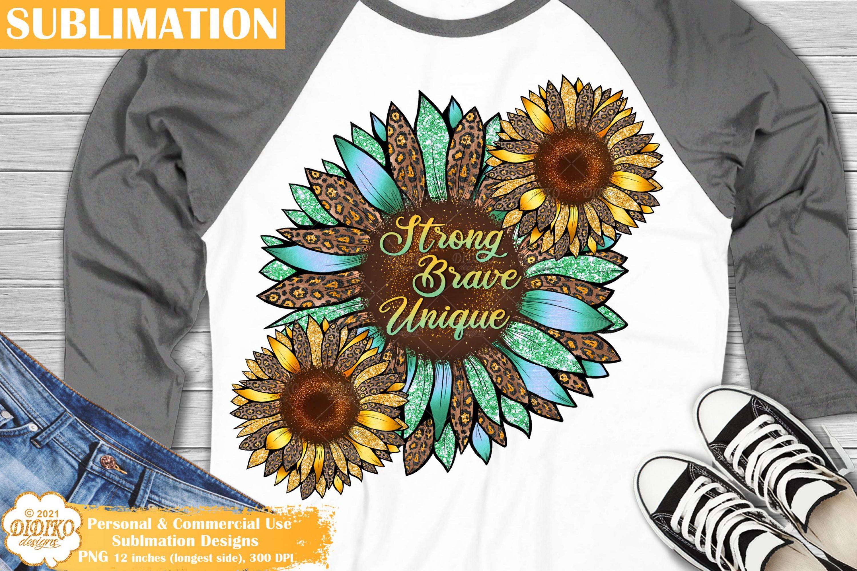 Sunflower Quote Sublimation, Motivational Png, Leopard