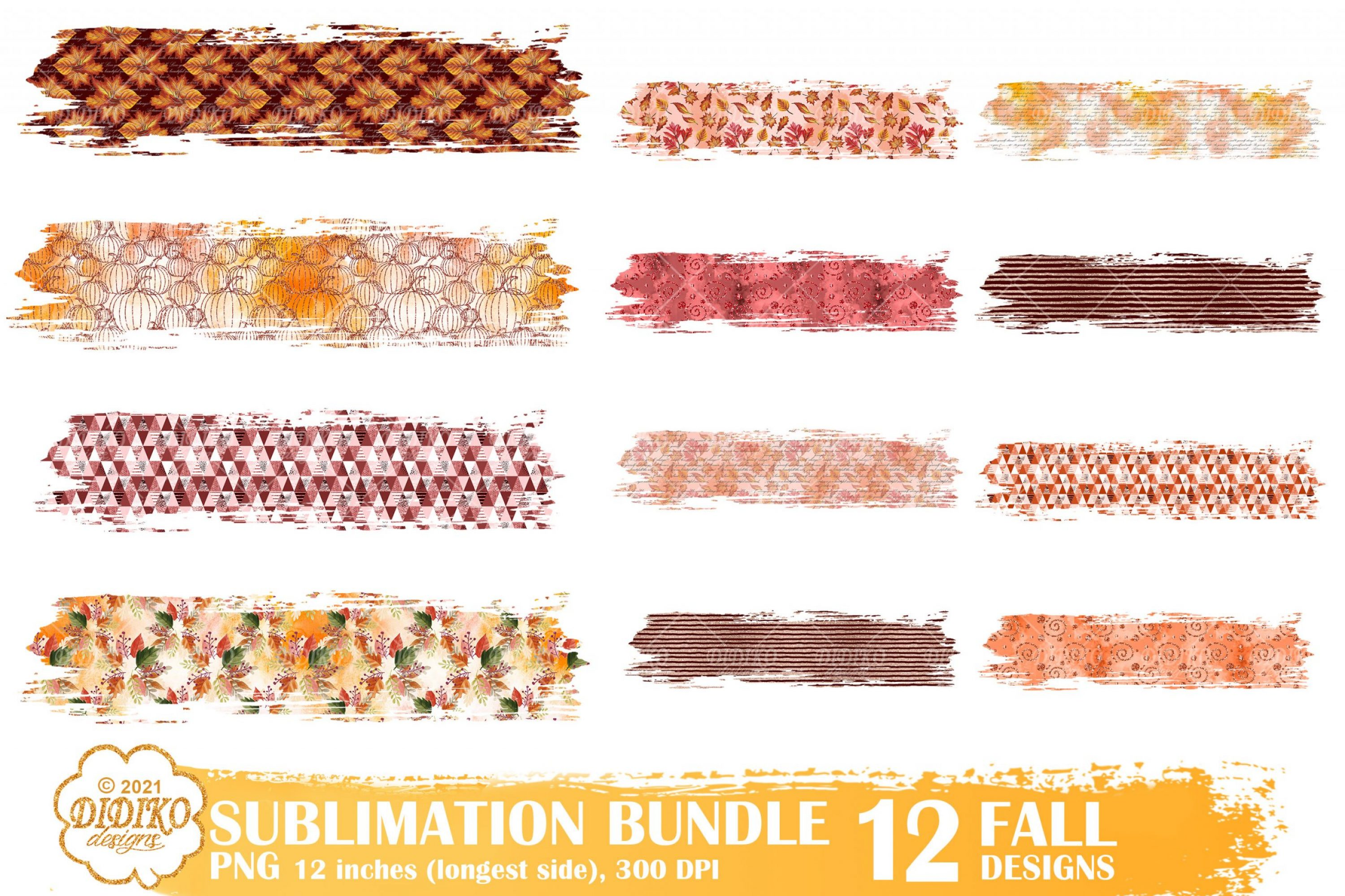 Fall Brush Strokes Png Bundle, Fall Sublimation, Autumn