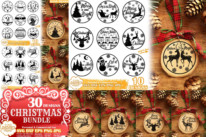 Christmas SVG Ornament Bundle, Christmas rounds svg