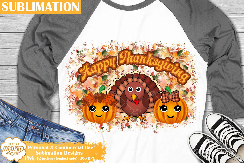 Thanksgiving Sublimation, Girl Pumpkin Png, Turkey Png