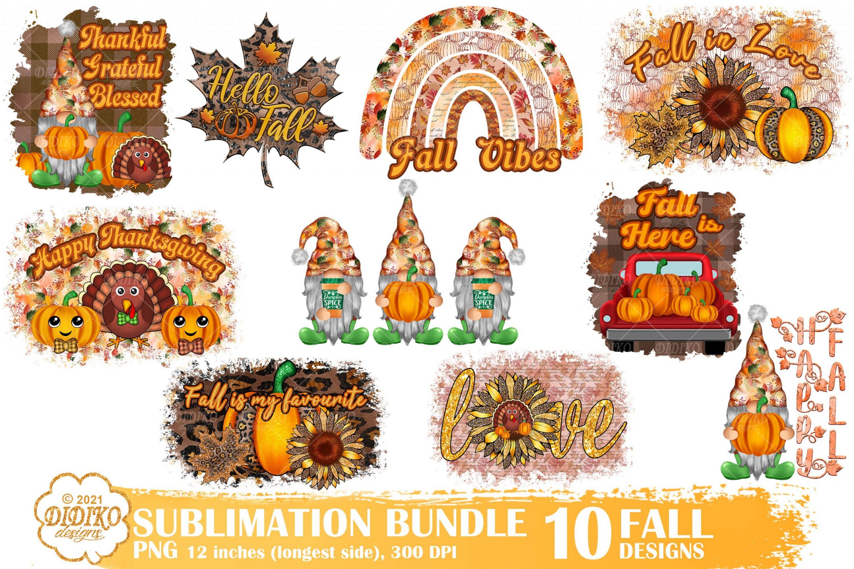 Fall Sublimation Bundle, Autumn Gnomes Png, Pumpkin