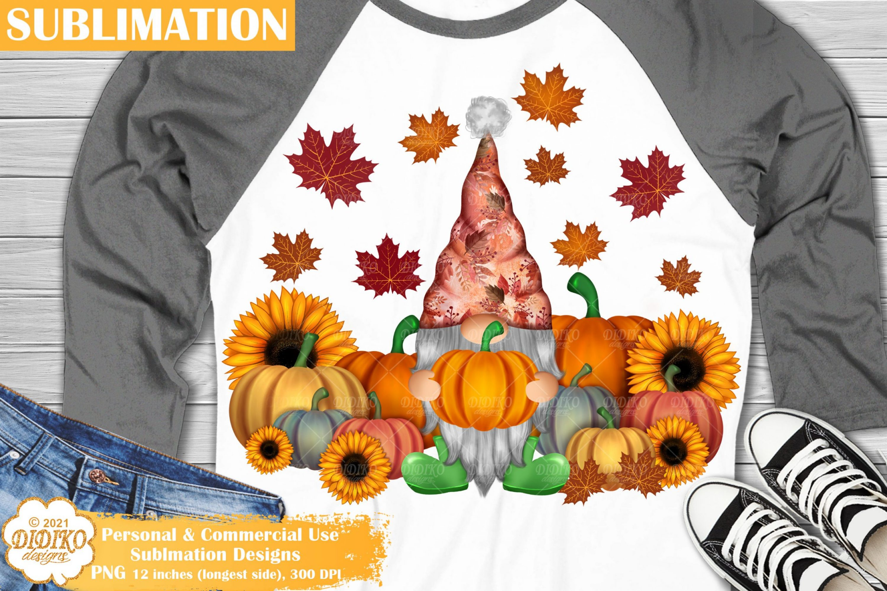 Harvest Gnome Sublimation, Fall sunflower pumpkin png