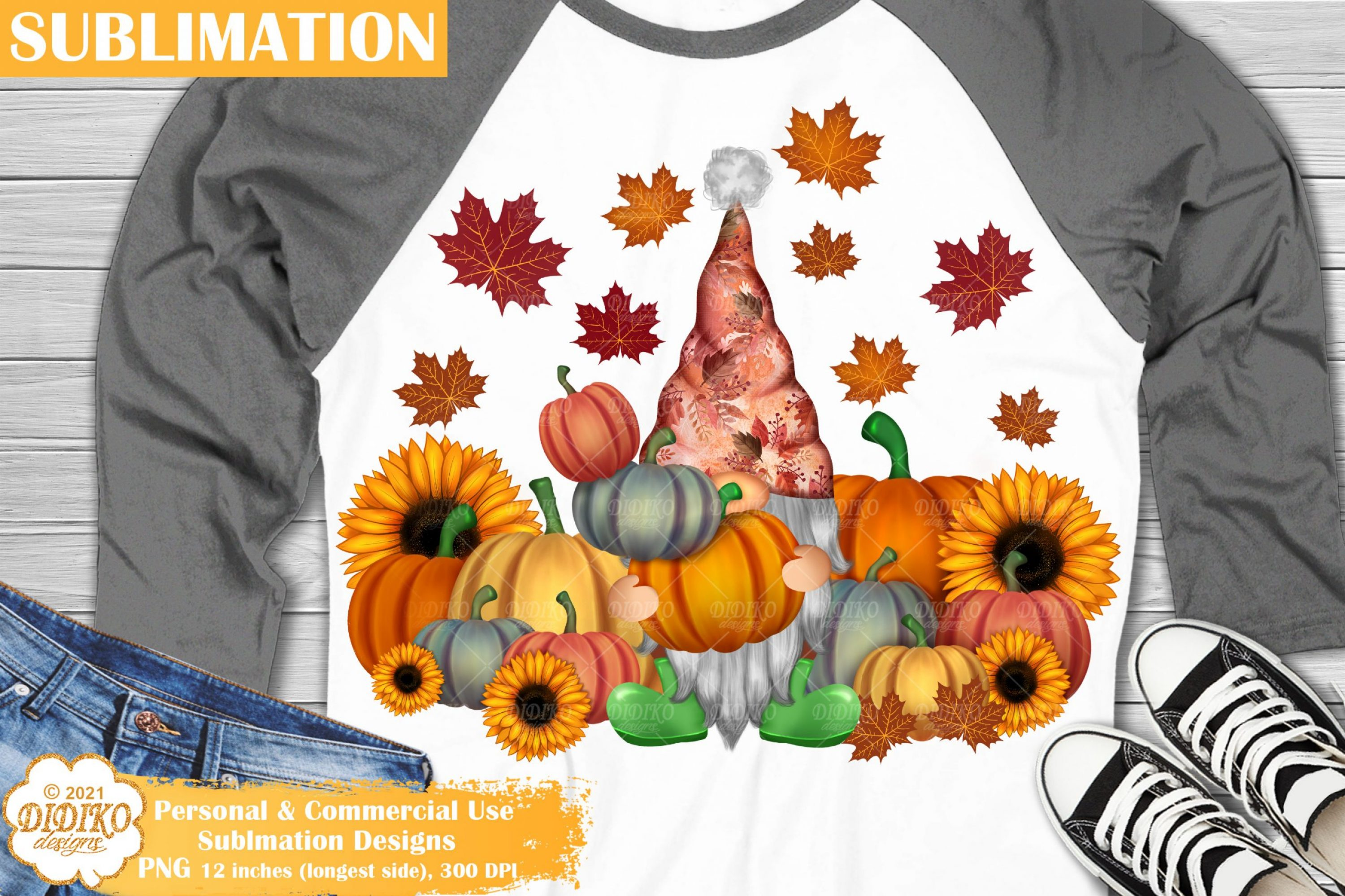 Fall Gnome Sublimation, harvest png, sunflower pumpkin