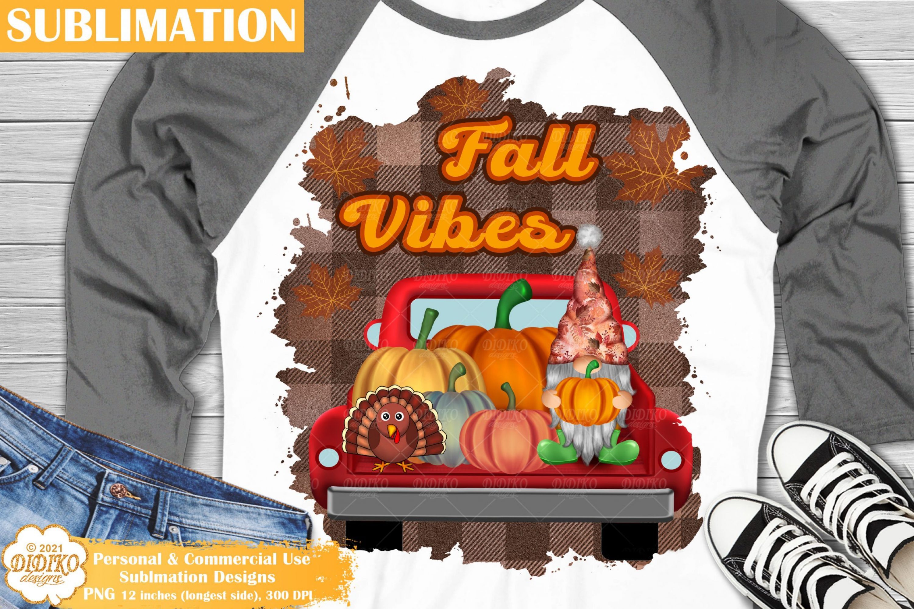 Fall Vibes Sublimation, Harvest Gnome, Fall Truck Png