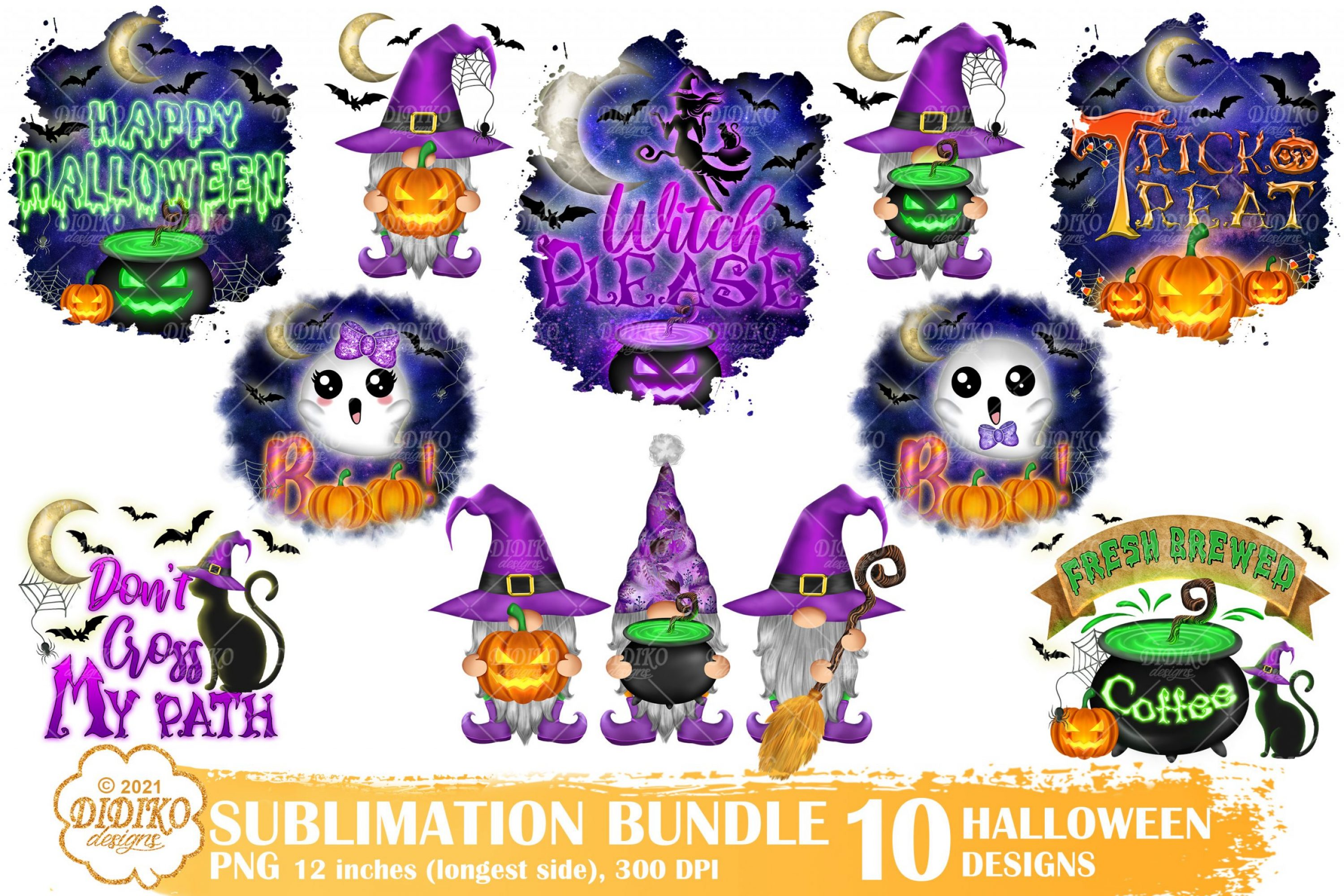 Halloween Sublimation Bundle, Witch Png, Gnomes Png