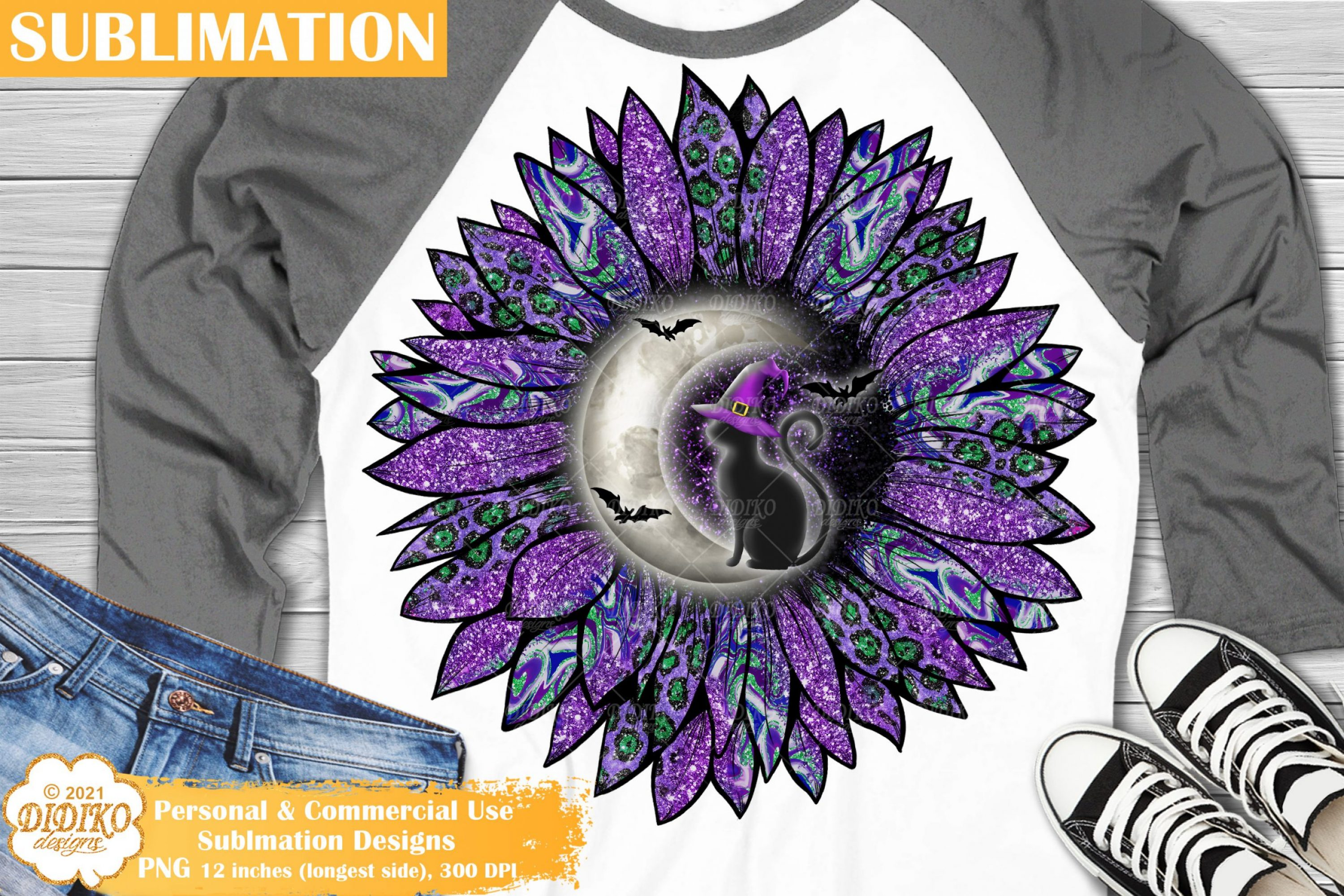 Sunflower Halloween Sublimation, Witch Cat Sublimation